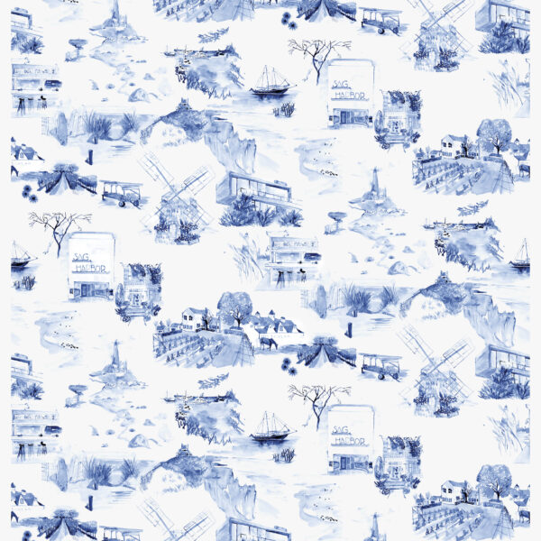 Quaint Depictions Of Small Town Scenes Are Brought To Life In A Hamptons-Centric Toile