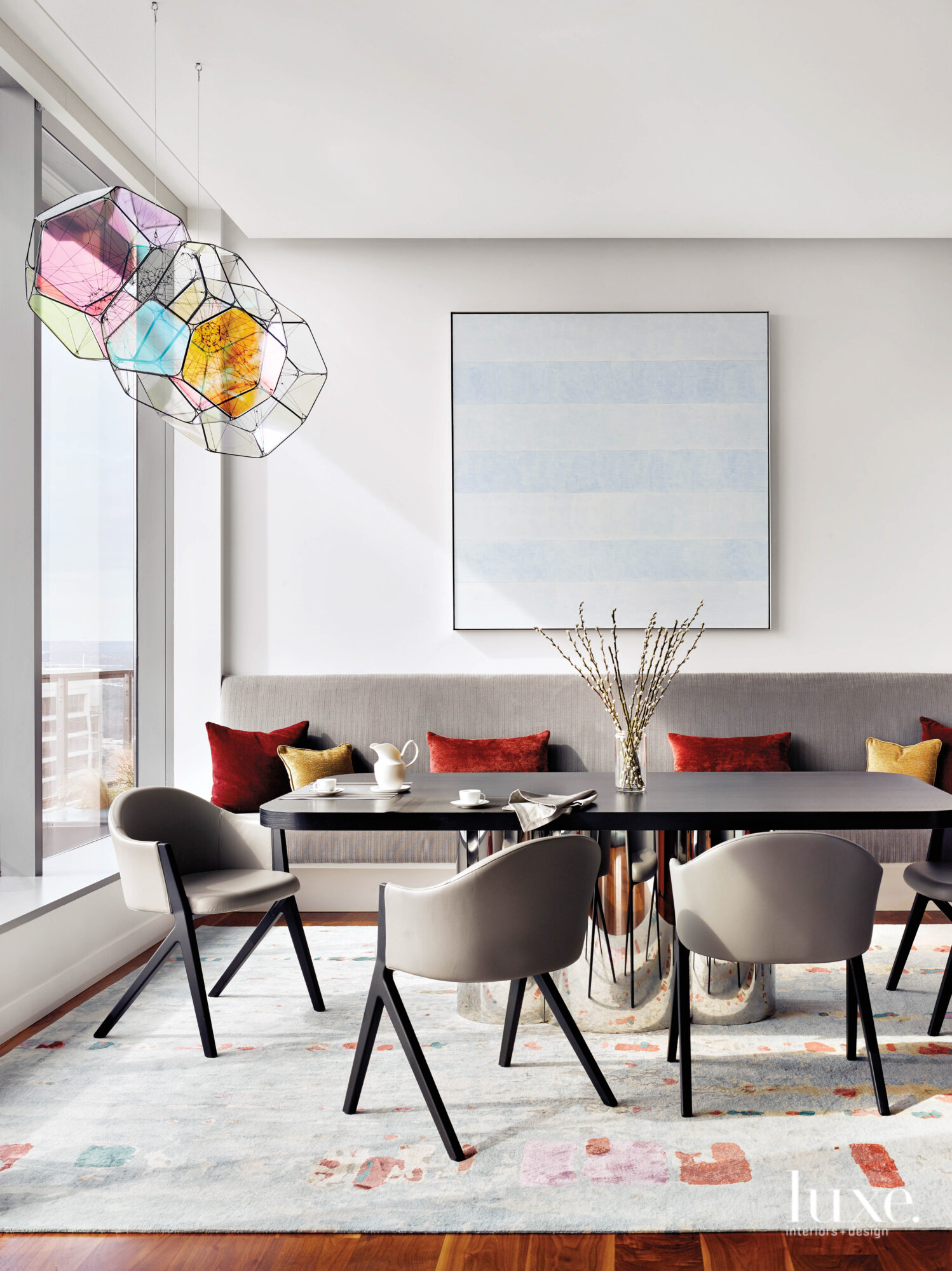 Dining area with statement art...