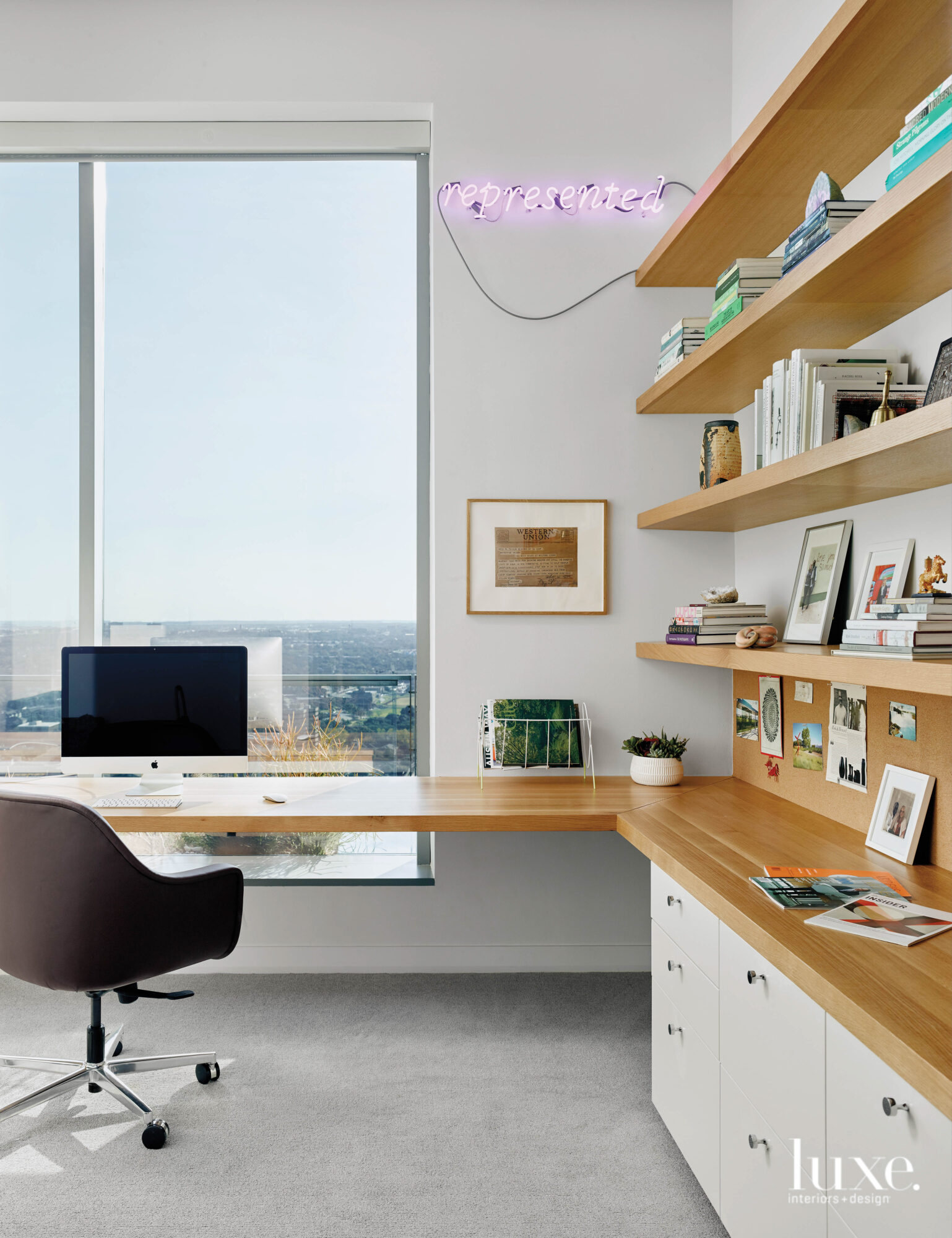 Functional office with open shelving...