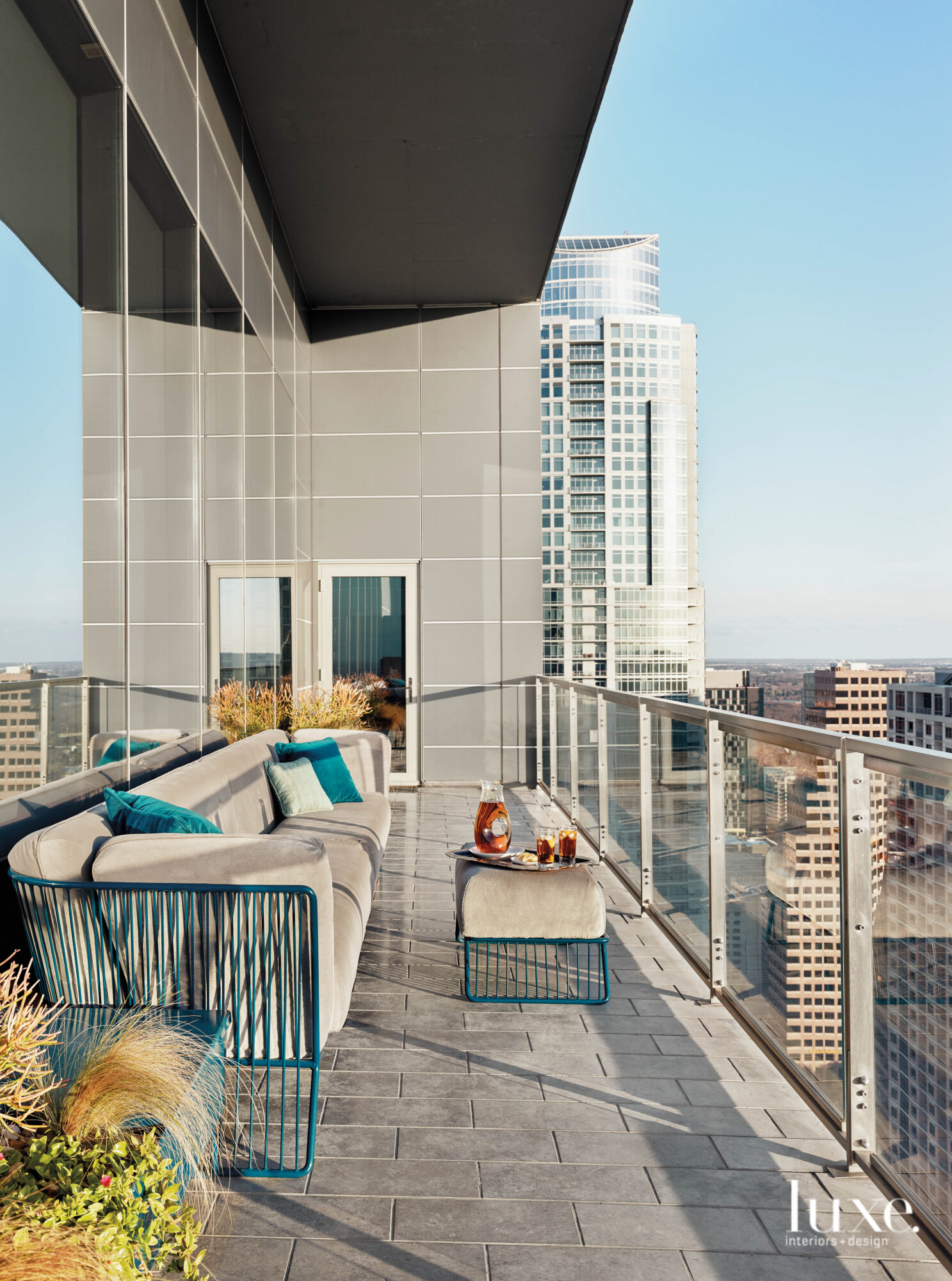 Balcony of a high-rise with...