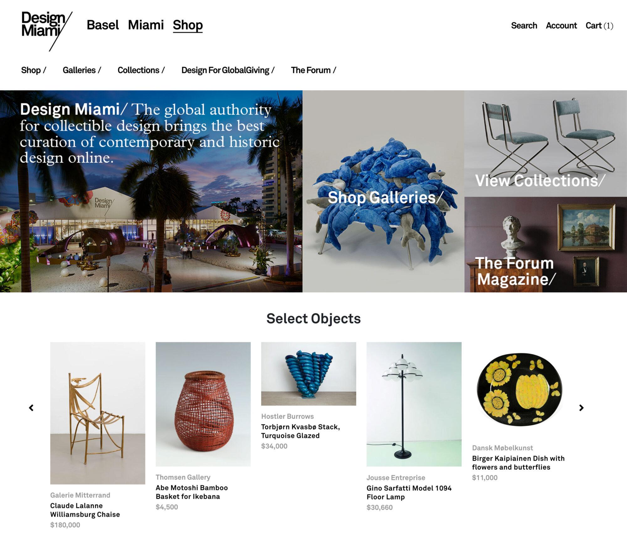 design miami digital marketplace homepage