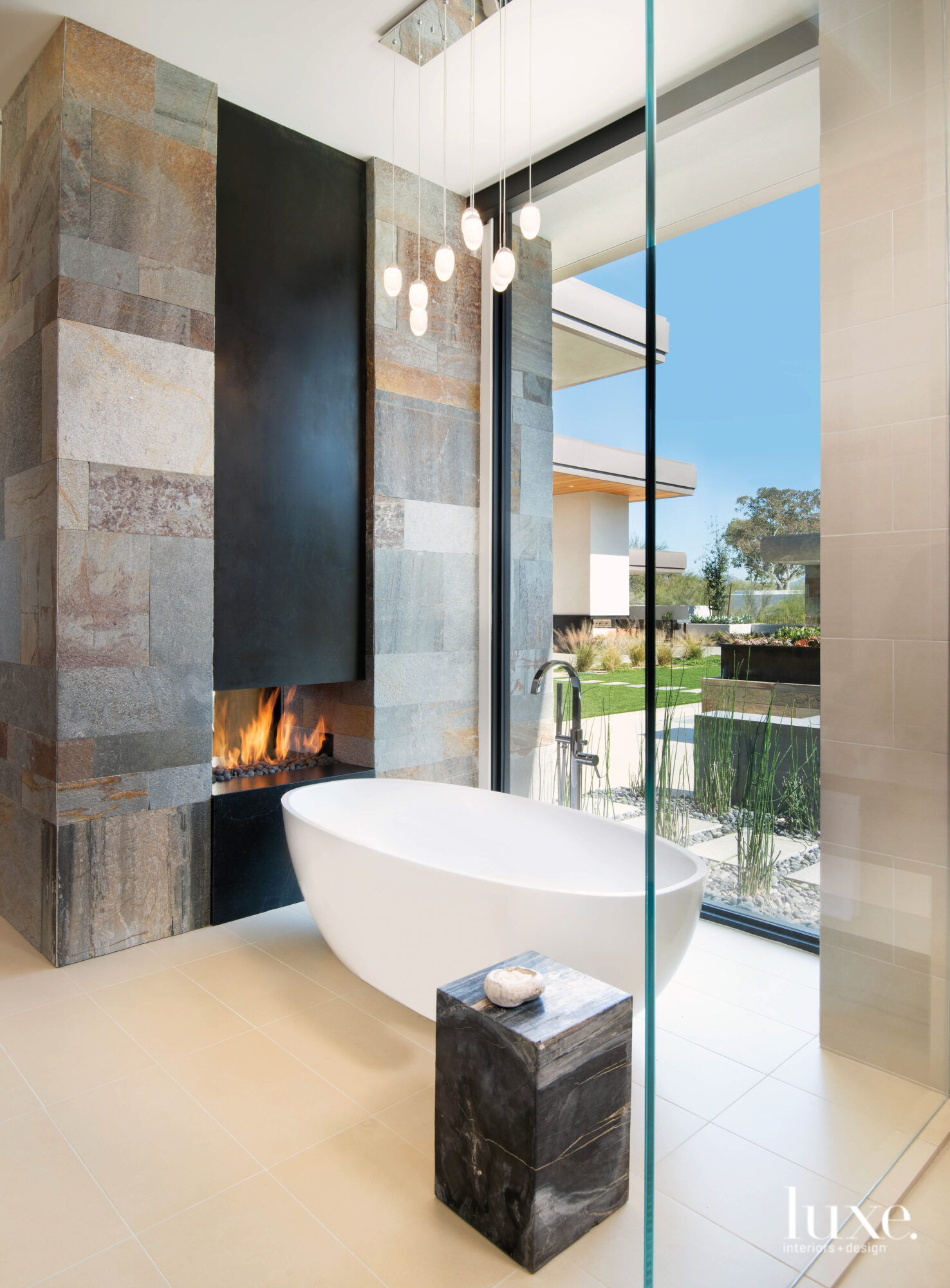 The master bathroom with a...