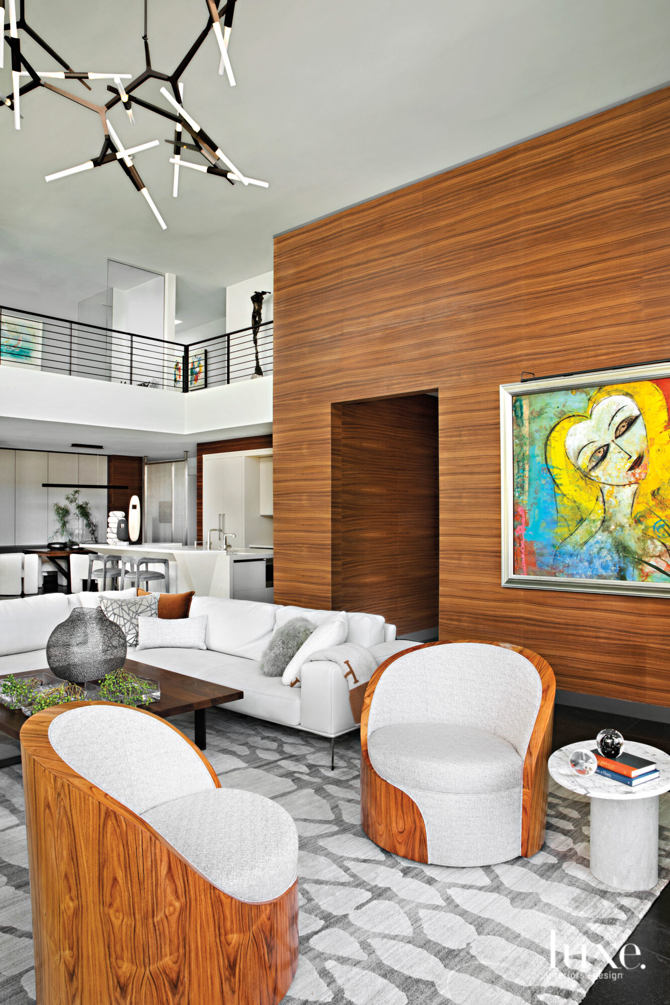 The double-height living room with...