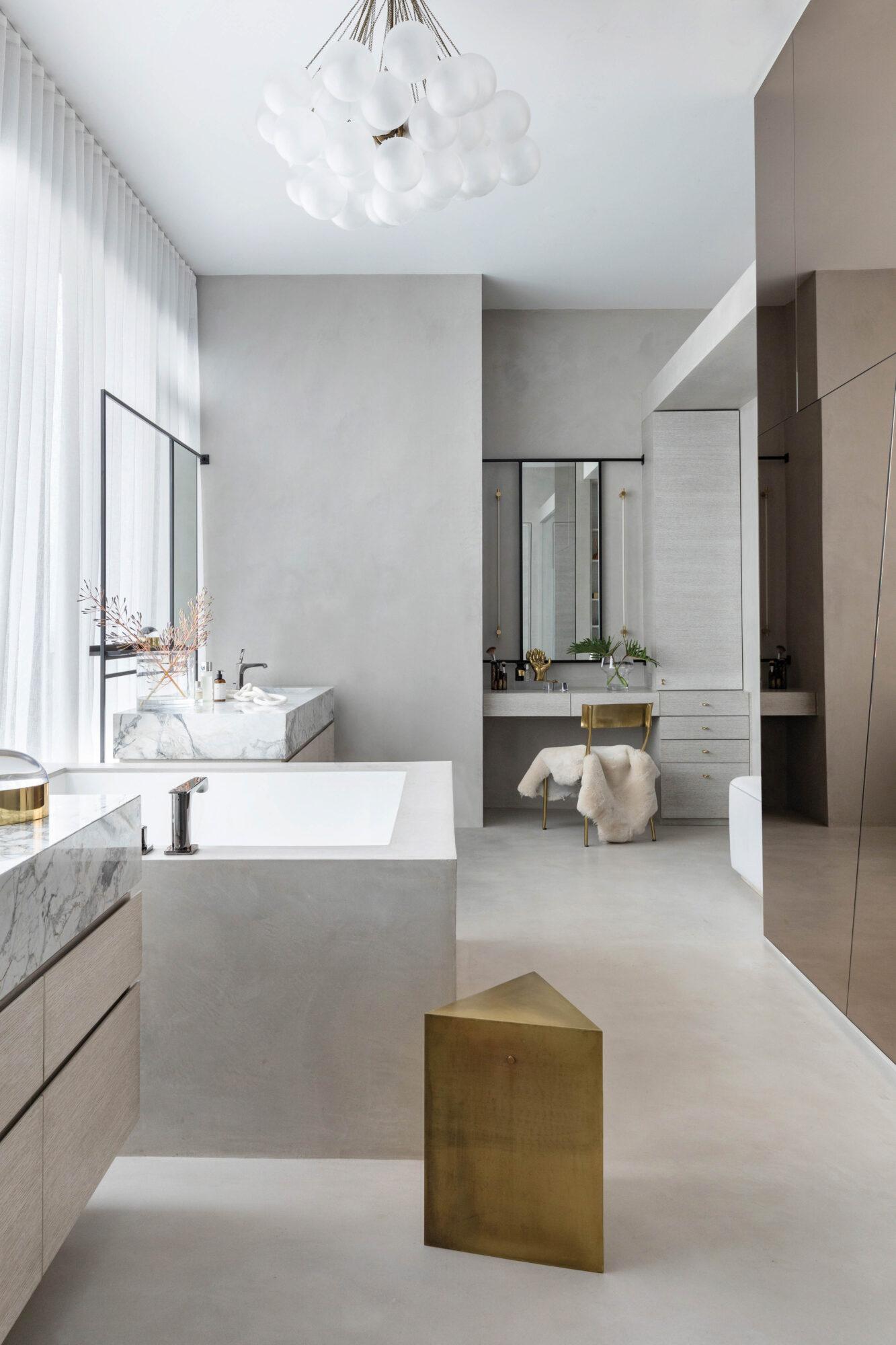 bathroom tub window gold stool