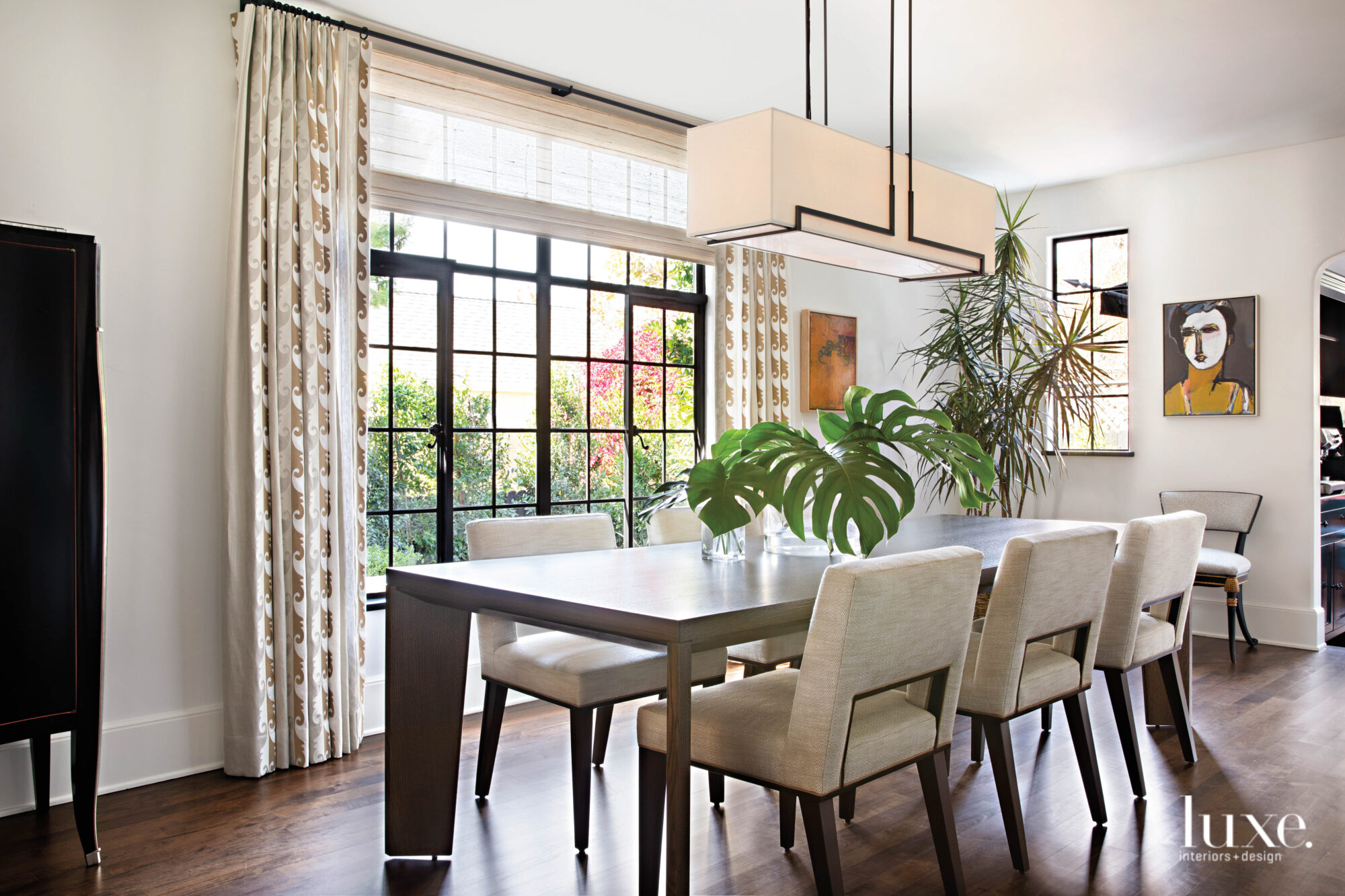 Dining room with long light...