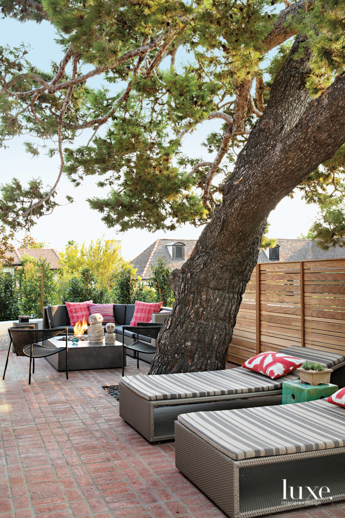 Garden view with tree, loungers...