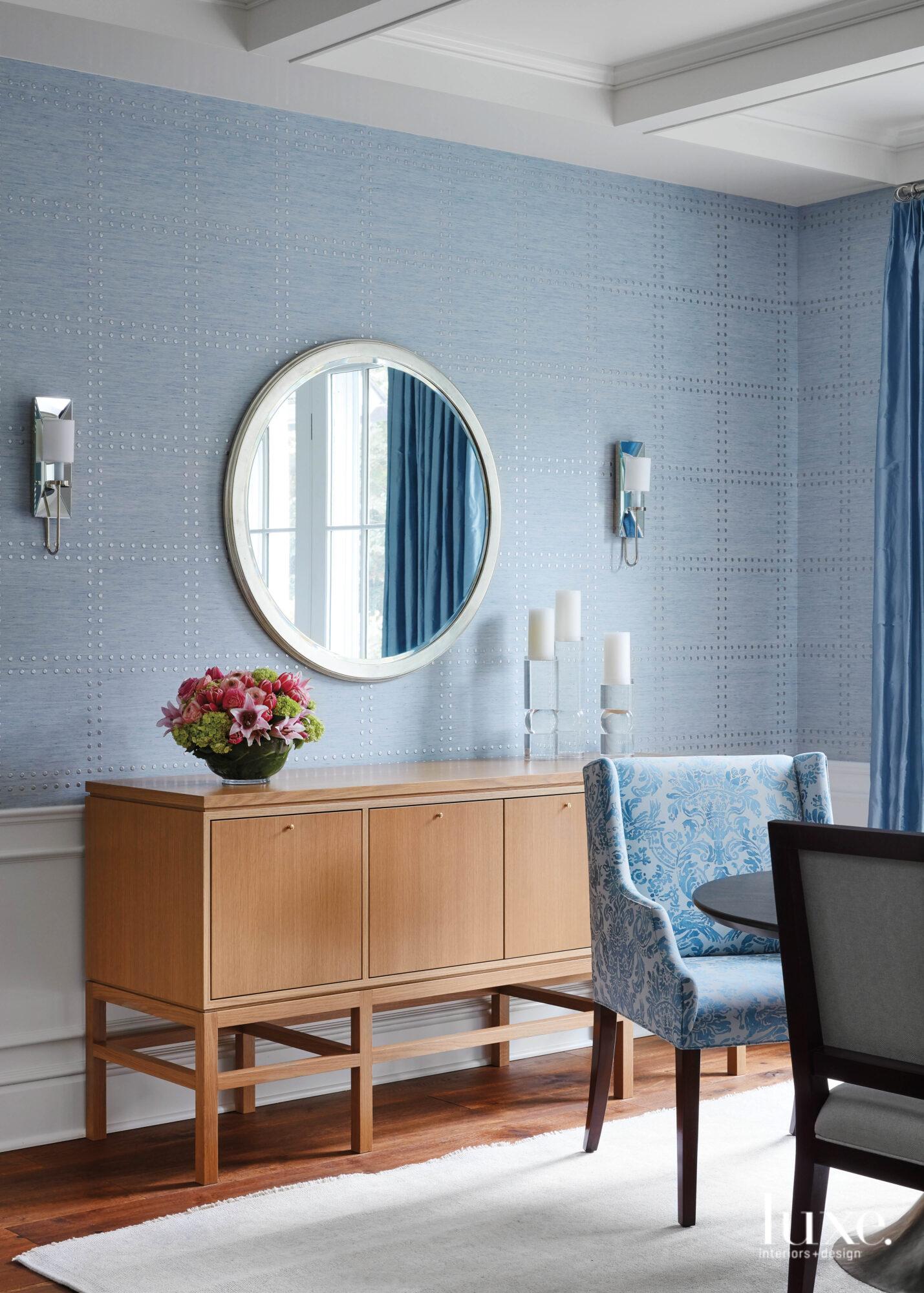 light blue walls in dining...