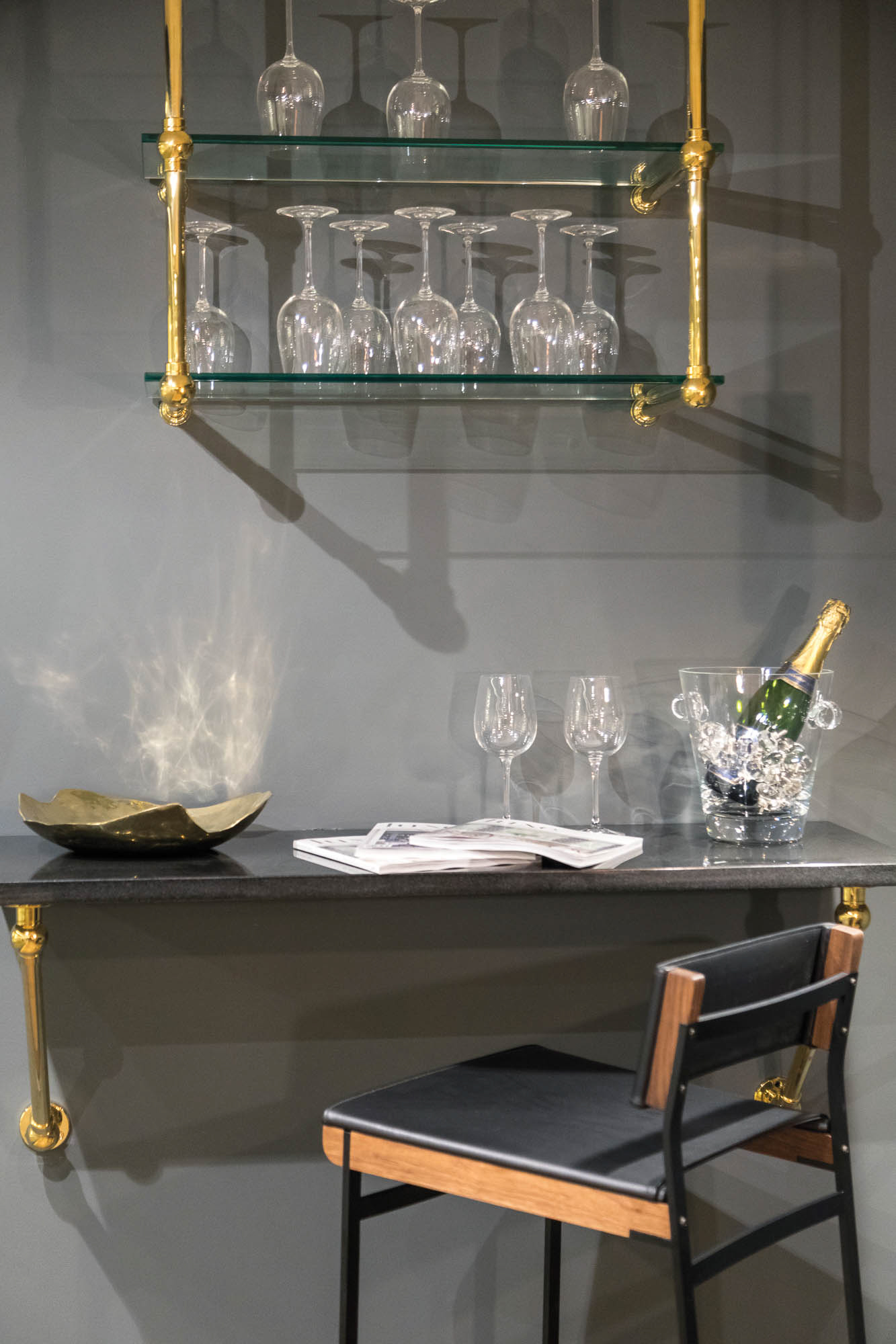 bar area gray walls katonah architectural hardware