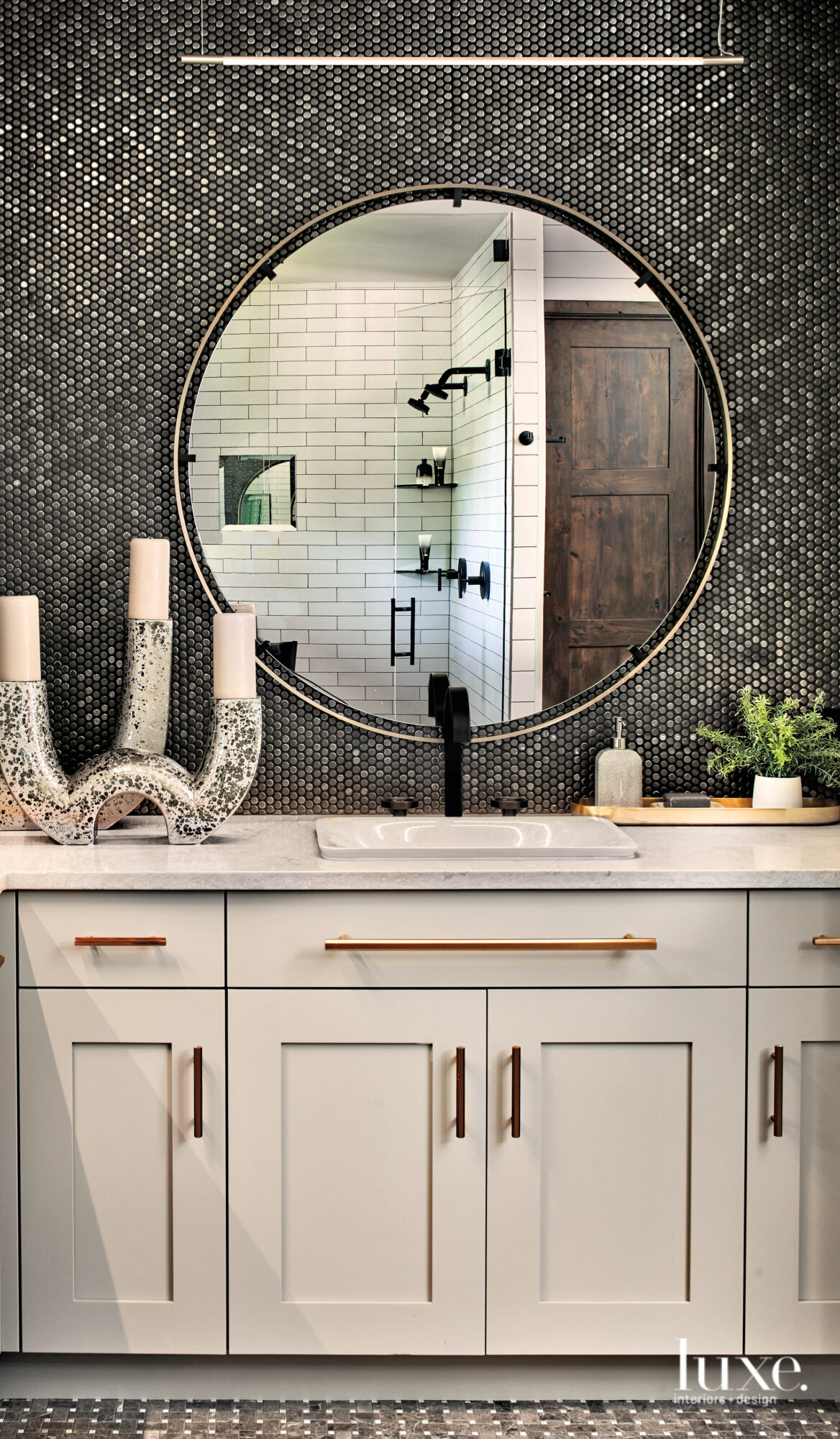 In the master bathroom, a...