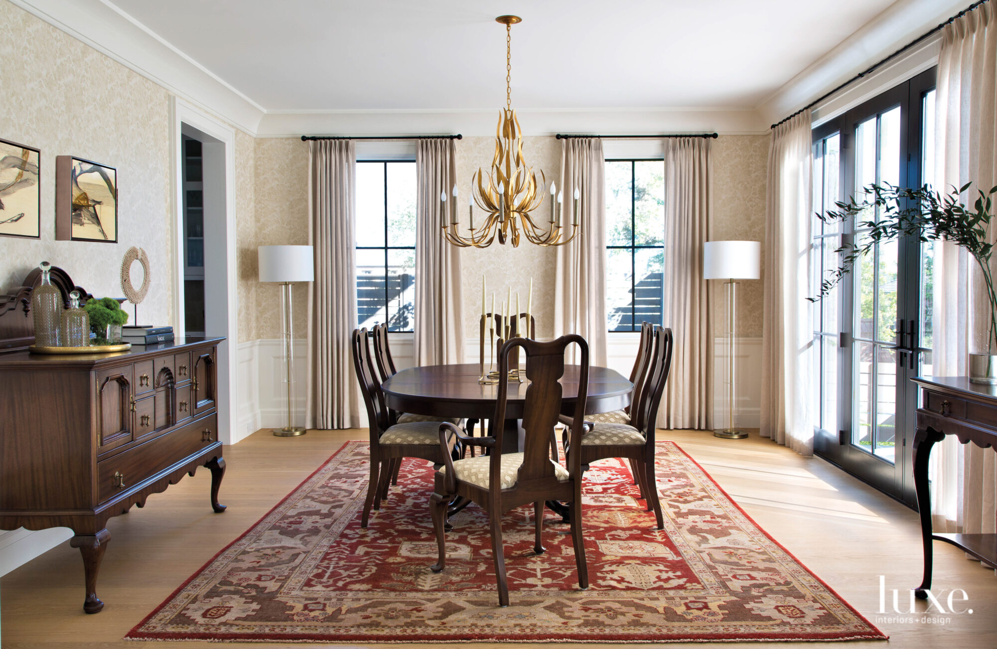 traditional dining room with grand...