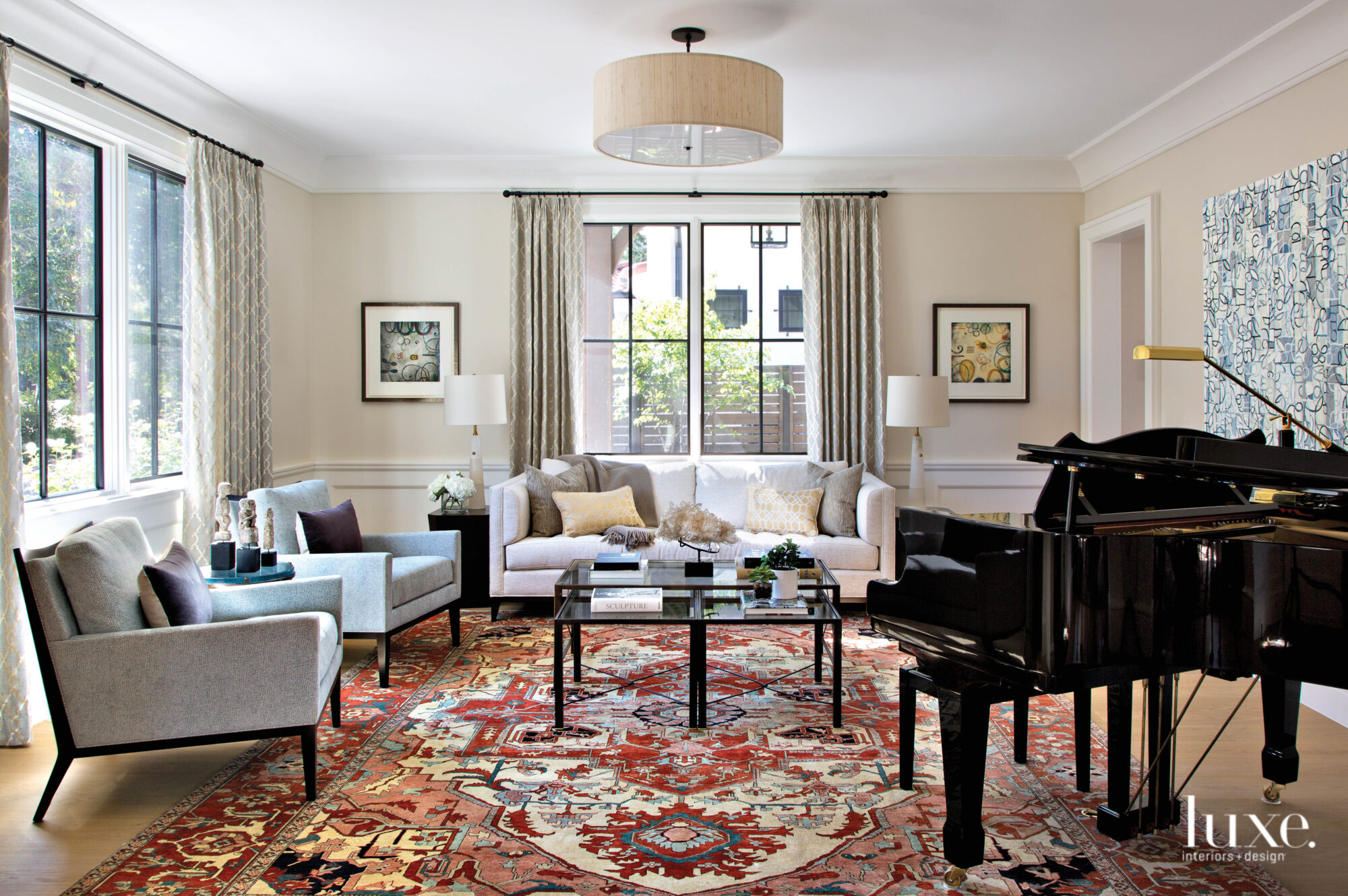 living room with ornate vintage...