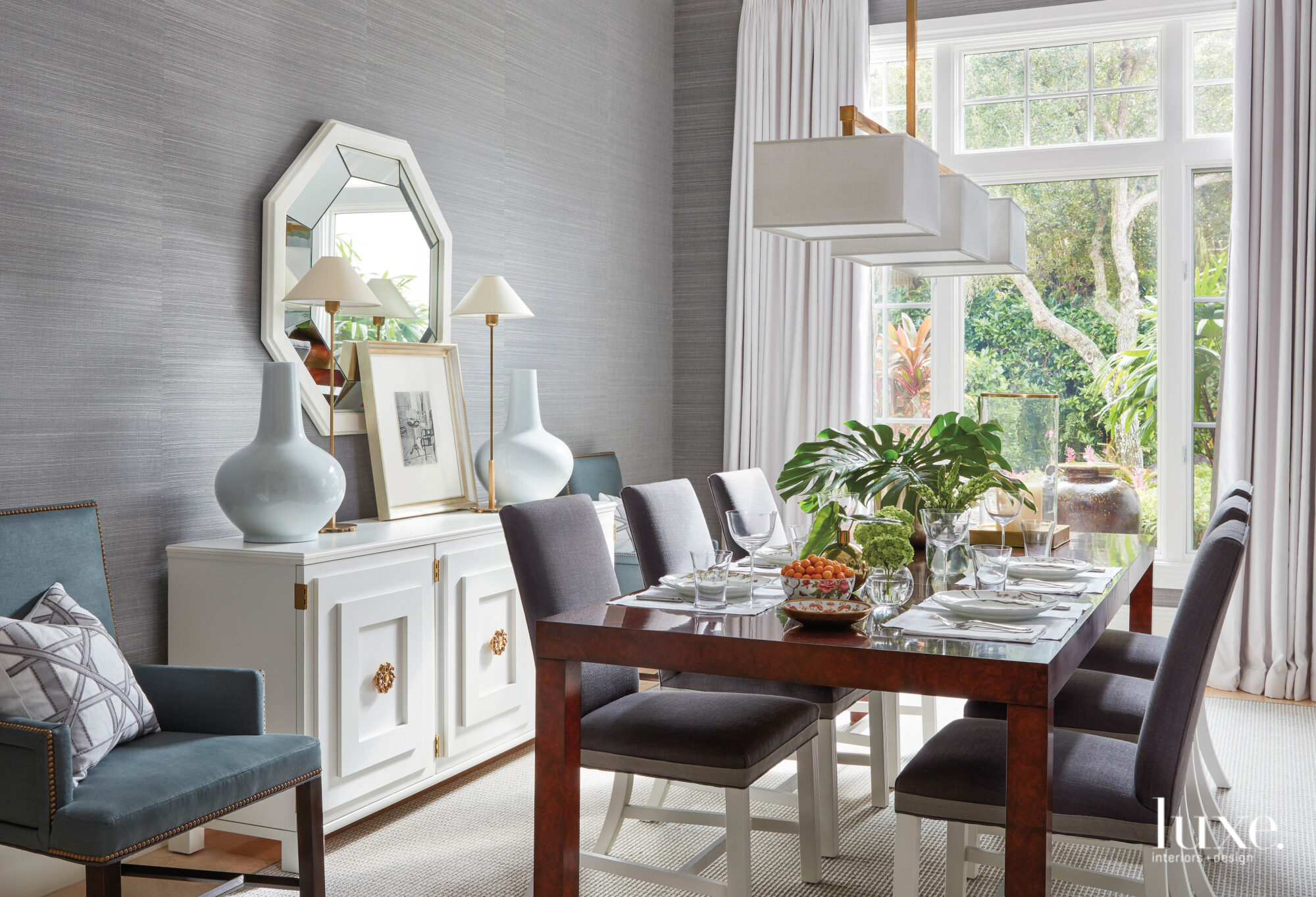 Dining room with gray textured...