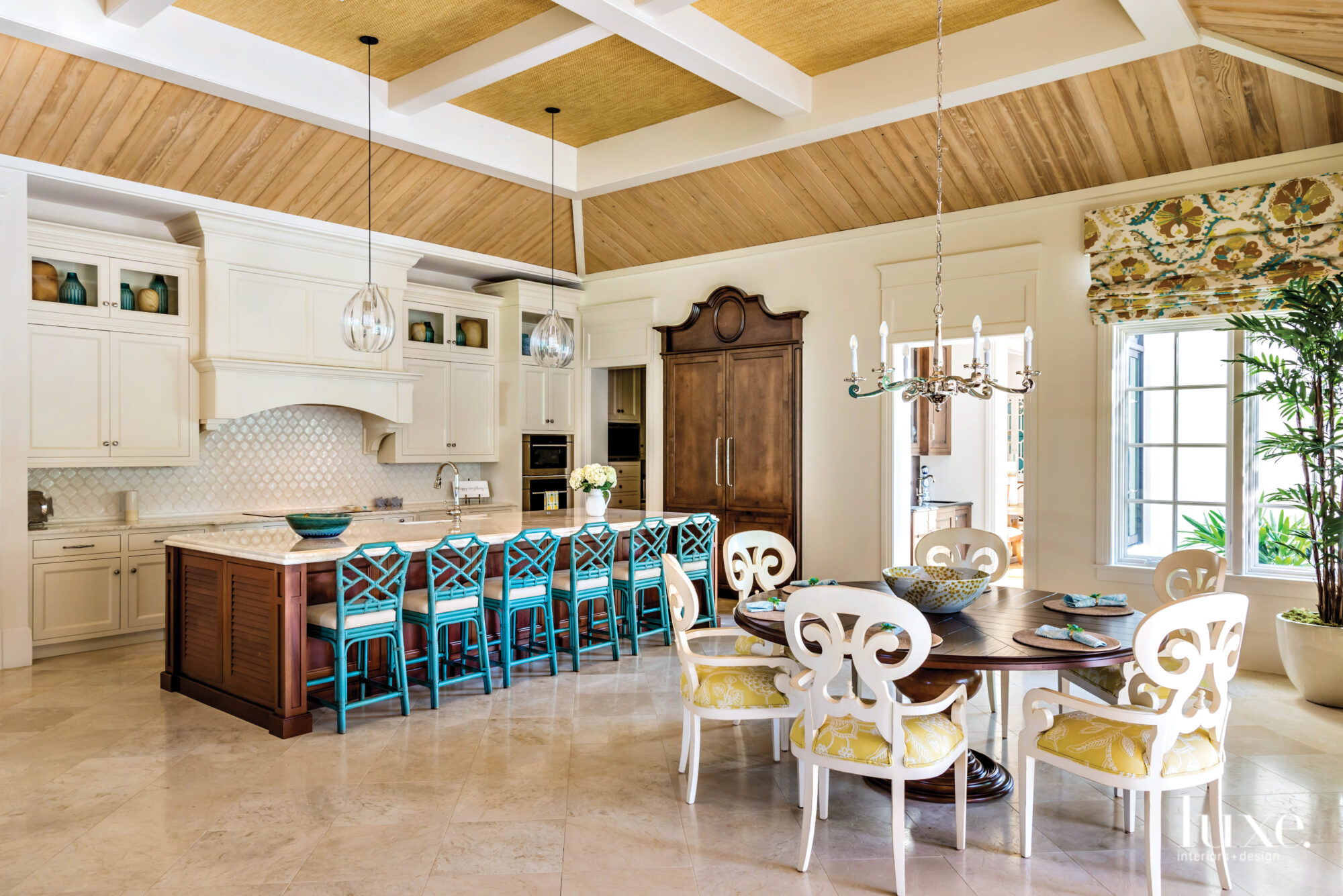 Kitchen with light wood ceiling...
