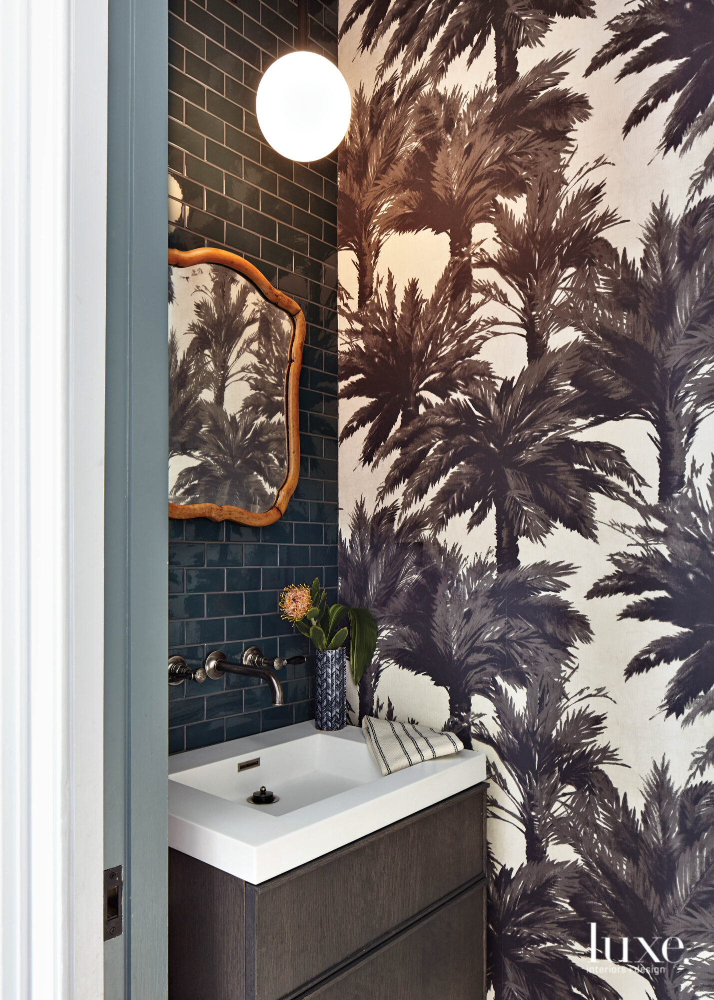 Pierre Frey wallpapered powder room.