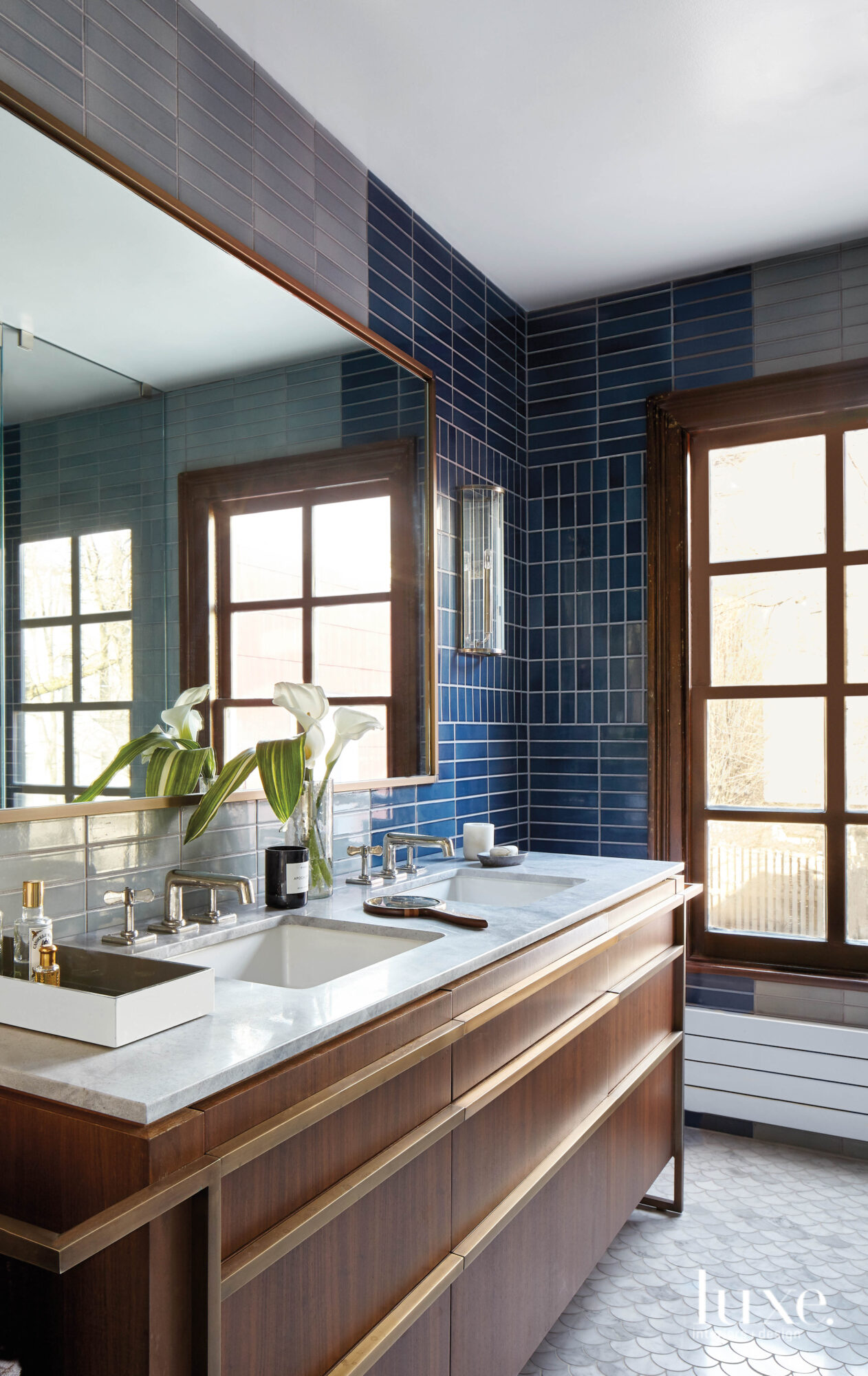 Blue tiled master bath.