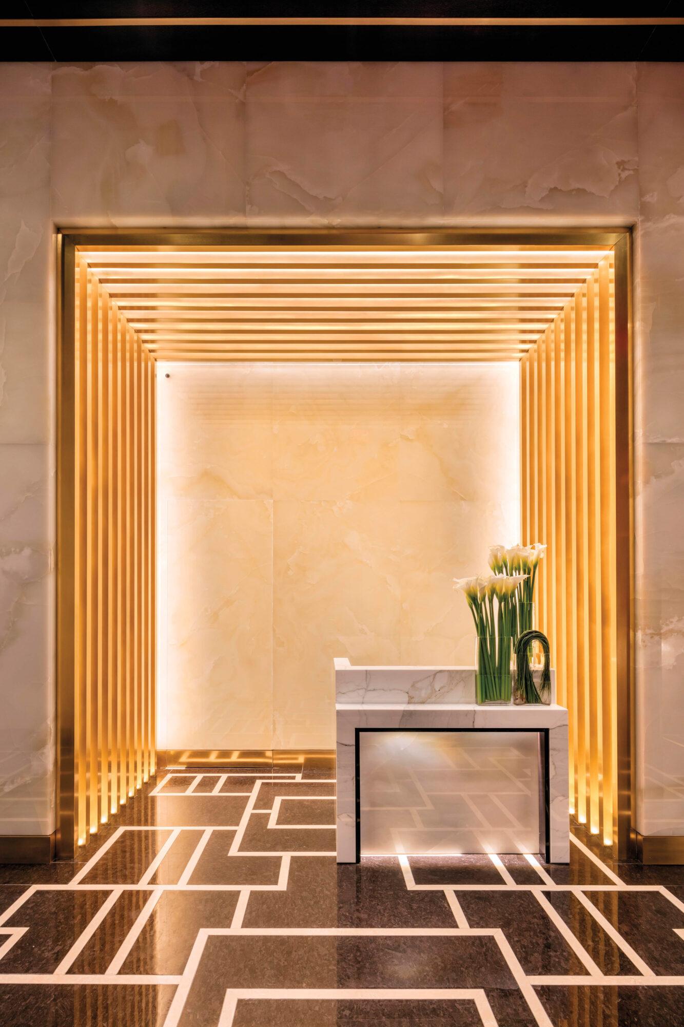 foyer of hotel with orange glow