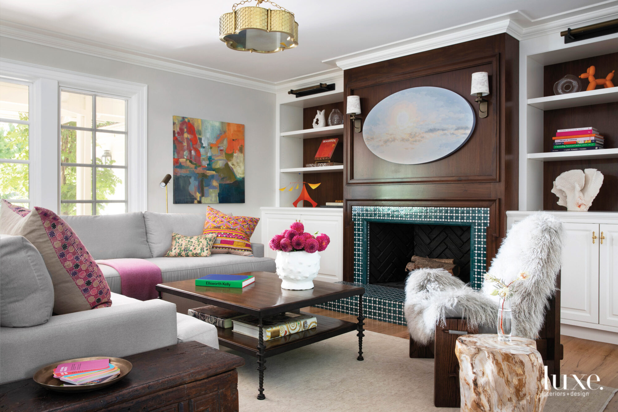 A family room features art,...