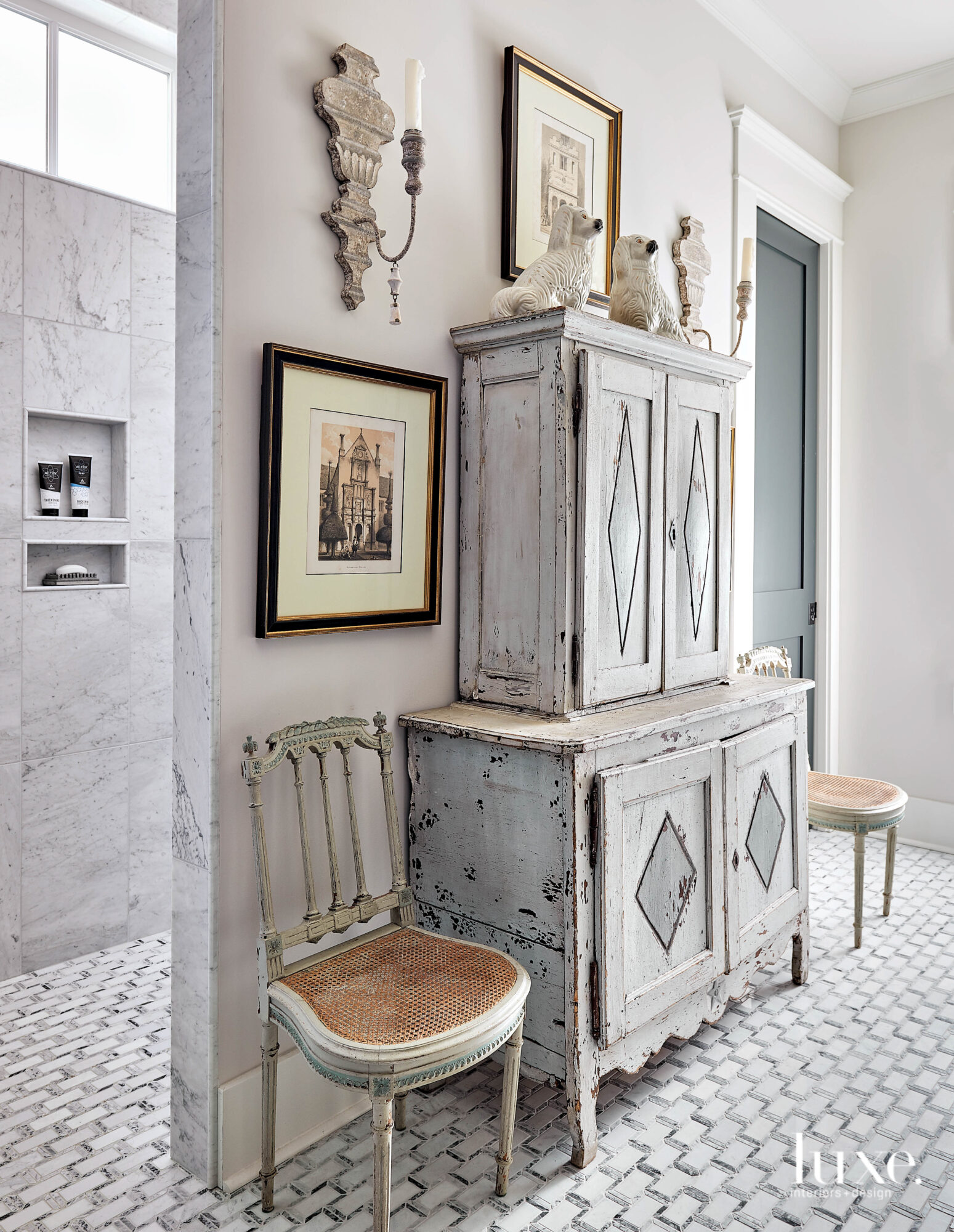 Bathroom with two-tiered painted cabinet,...