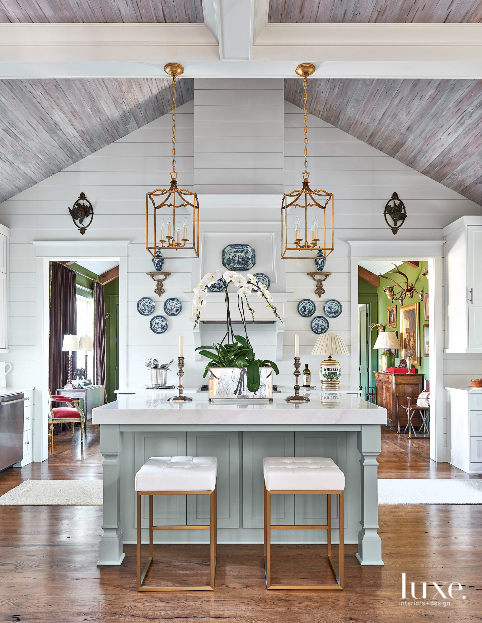 Kitchen with vaulted ceiling, pair...
