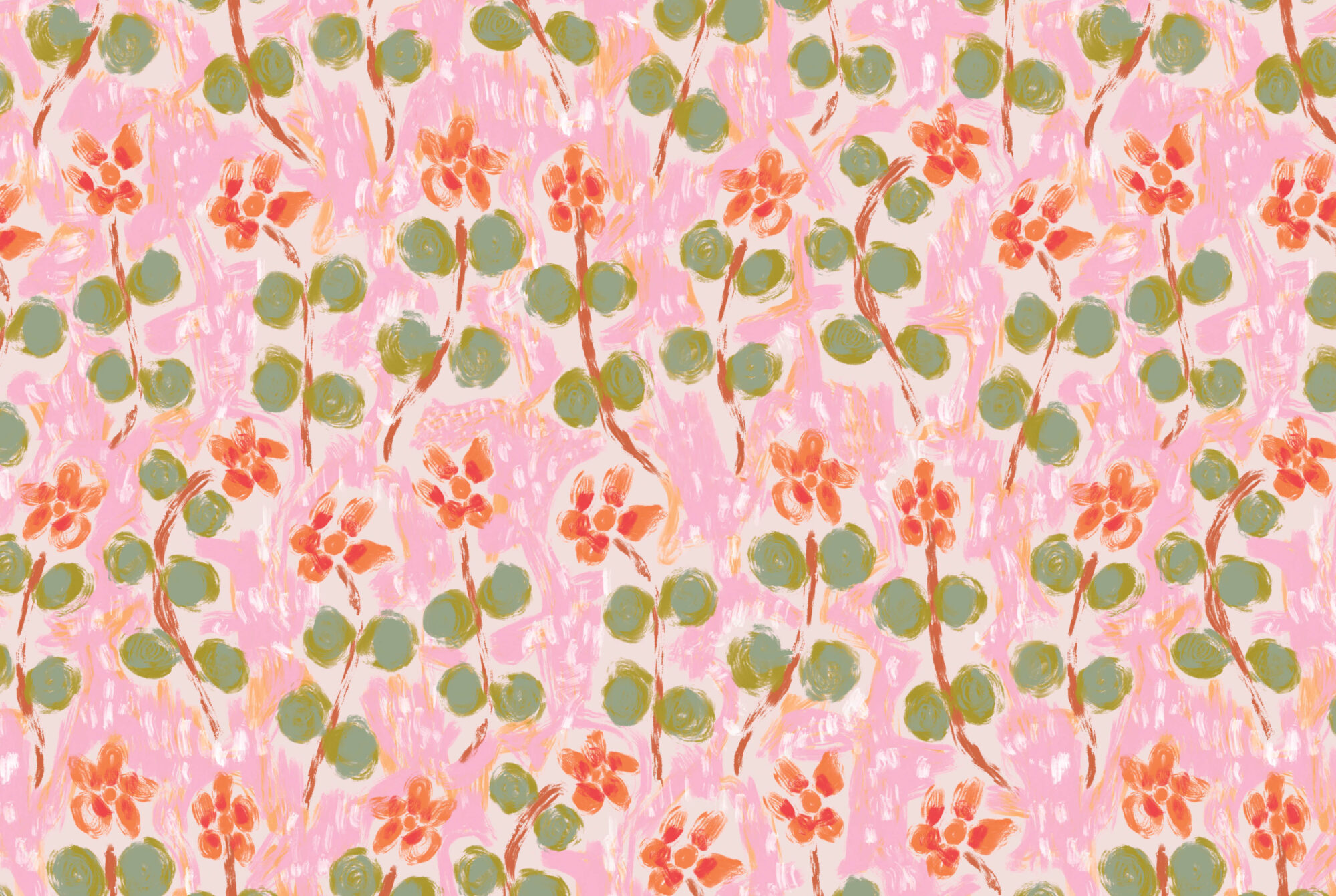 pink and green floral wallpaper