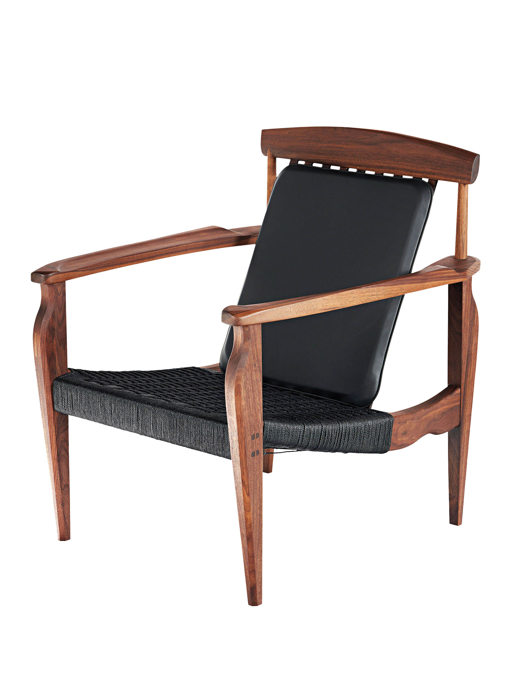 wood chair with black fabric