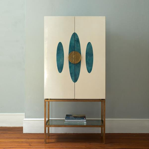 table with white cabinet and blue ovals