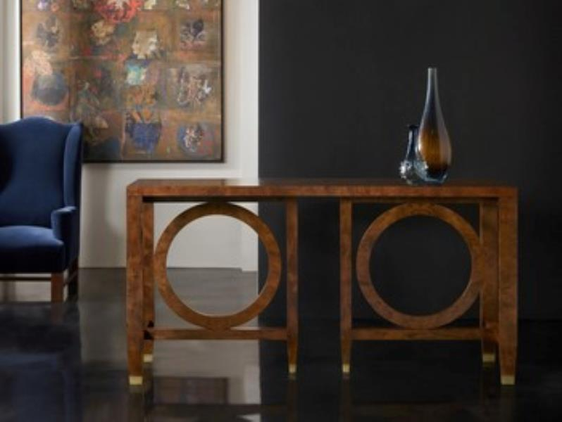 brown table with circles in black and white room