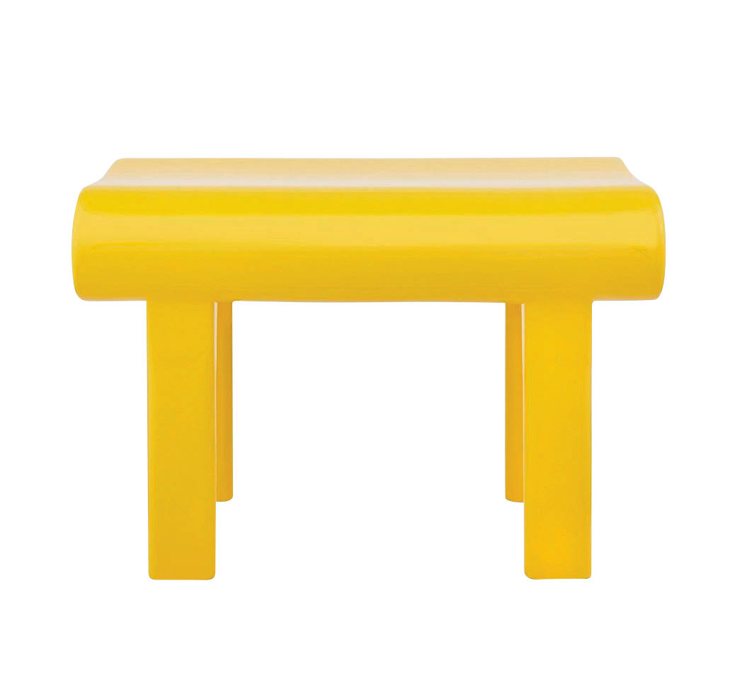 yellow four legged table no background