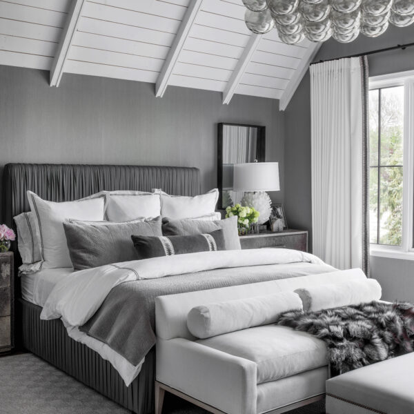 Love At First Sight: Farmhouse Style Abode In The Chicago Suburbs The clients' bedroom is done in shades of gray, including an upholstered sateen bed.