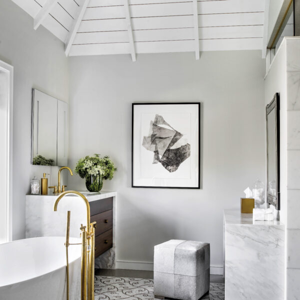 Love At First Sight: Farmhouse Style Abode In The Chicago Suburbs The gray bathroom has a freestanding tub and a shiplap ceiling.