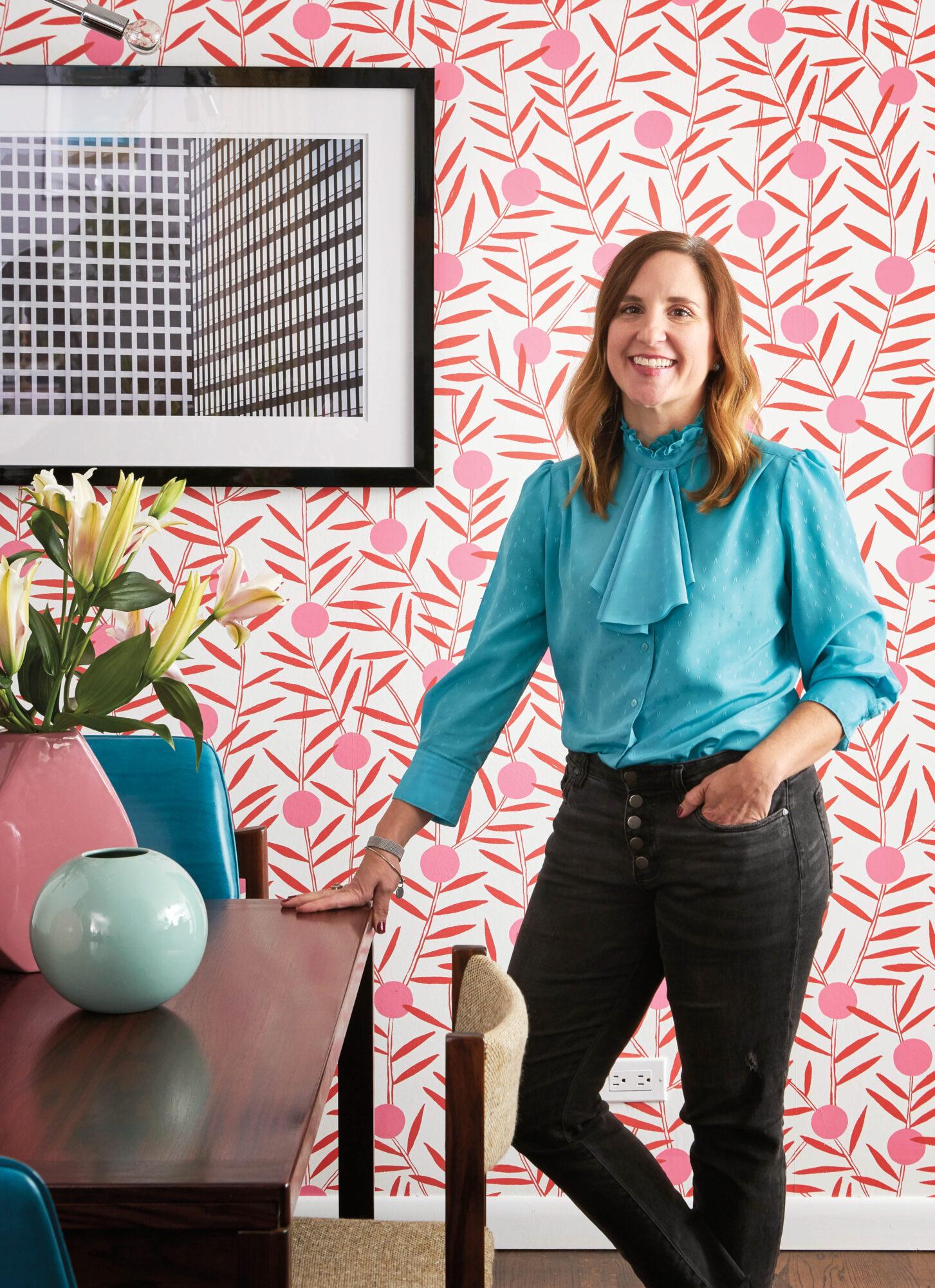 pink wallpaper carly moeller blue shirt