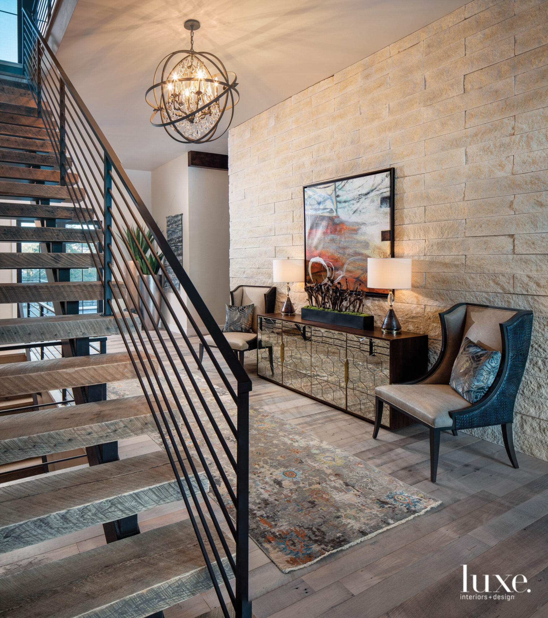 An entry has a staircase...