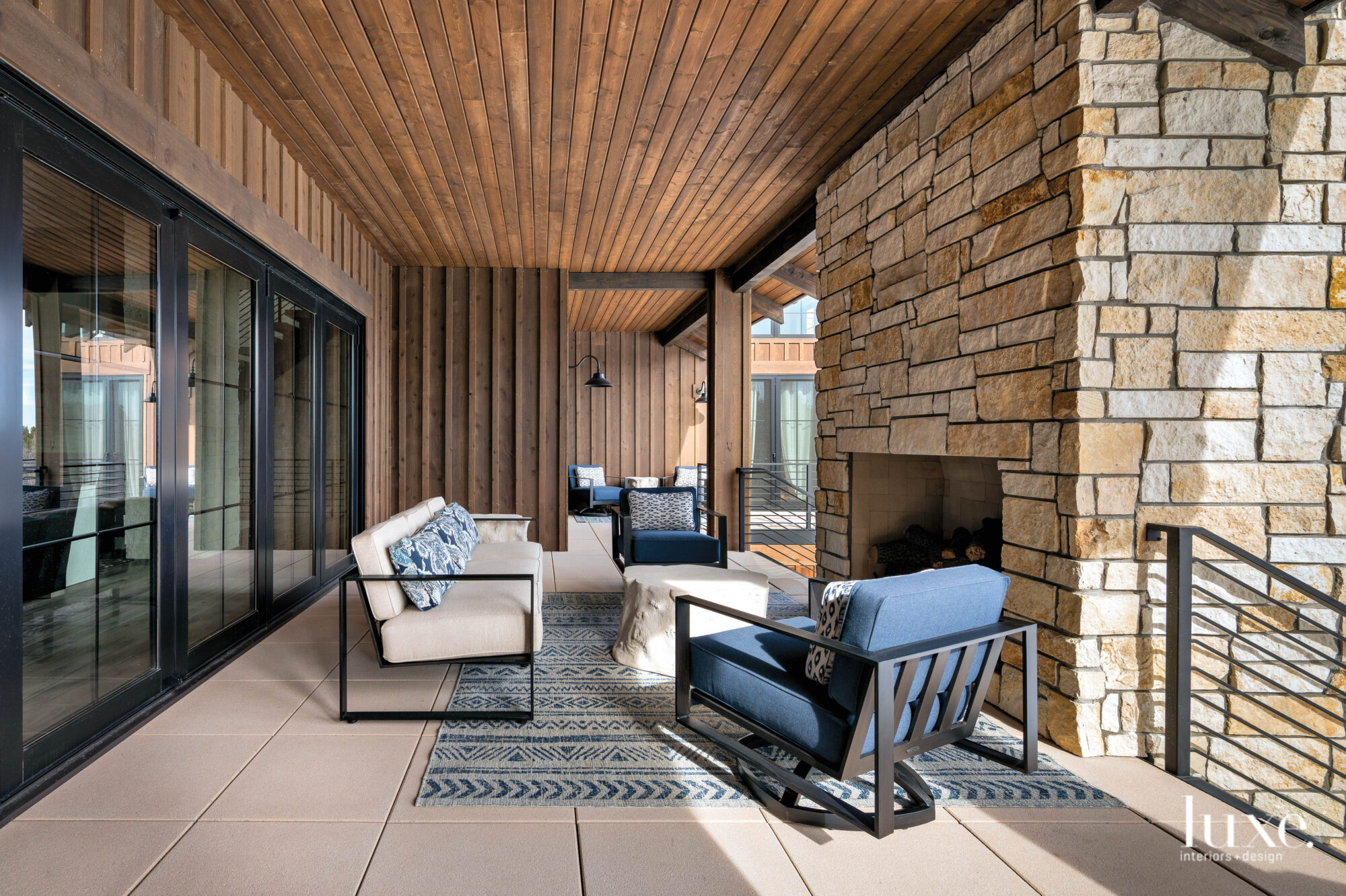 A covered outdoor seating area...