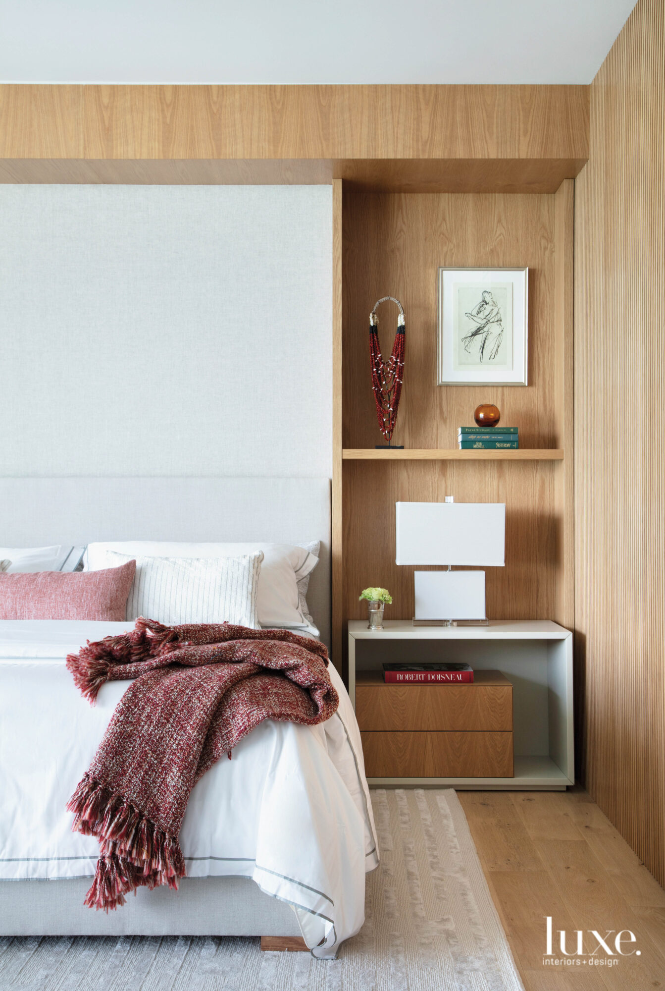 bedroom with wood wall paneling