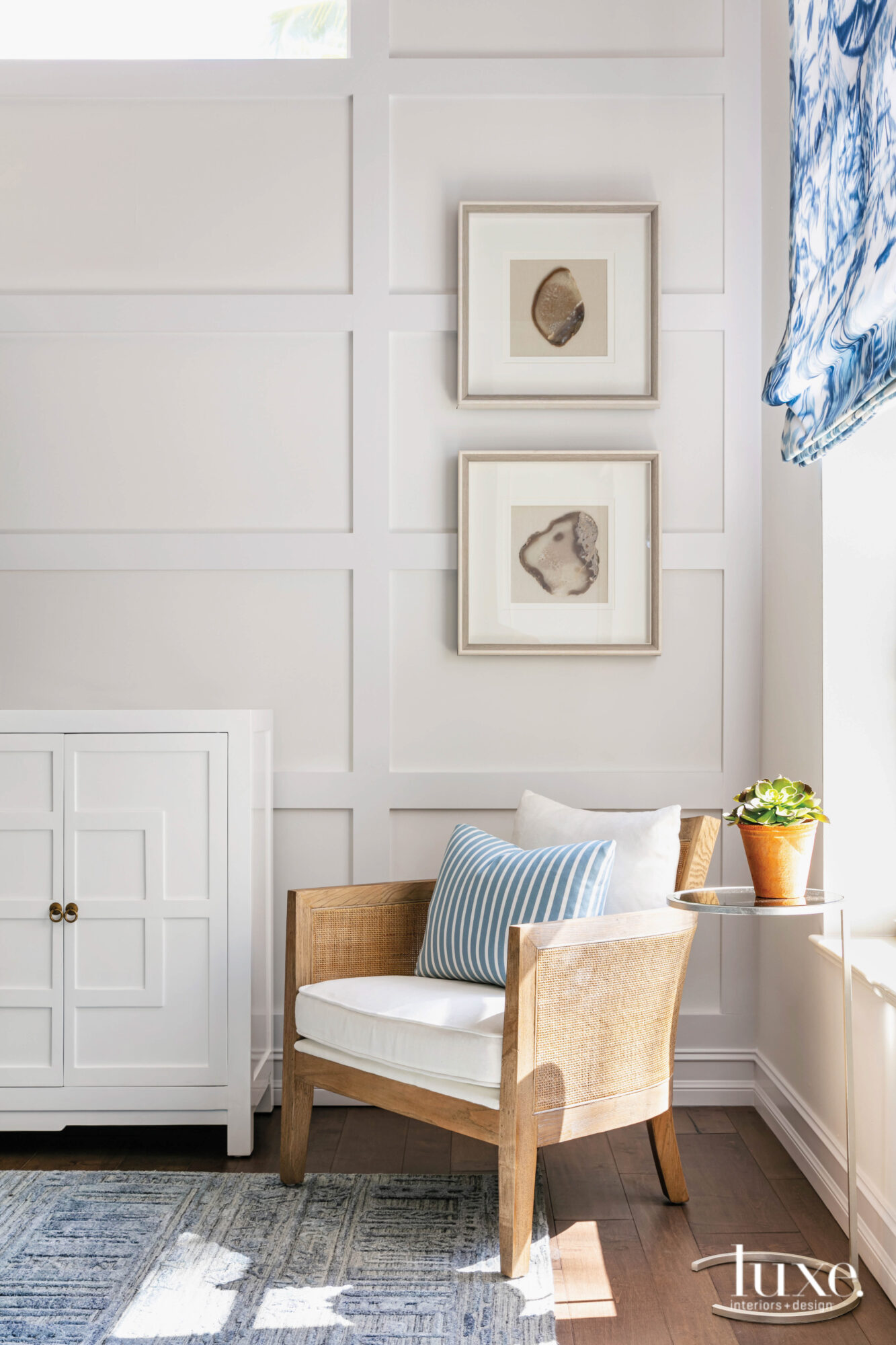 family room with white paneled...