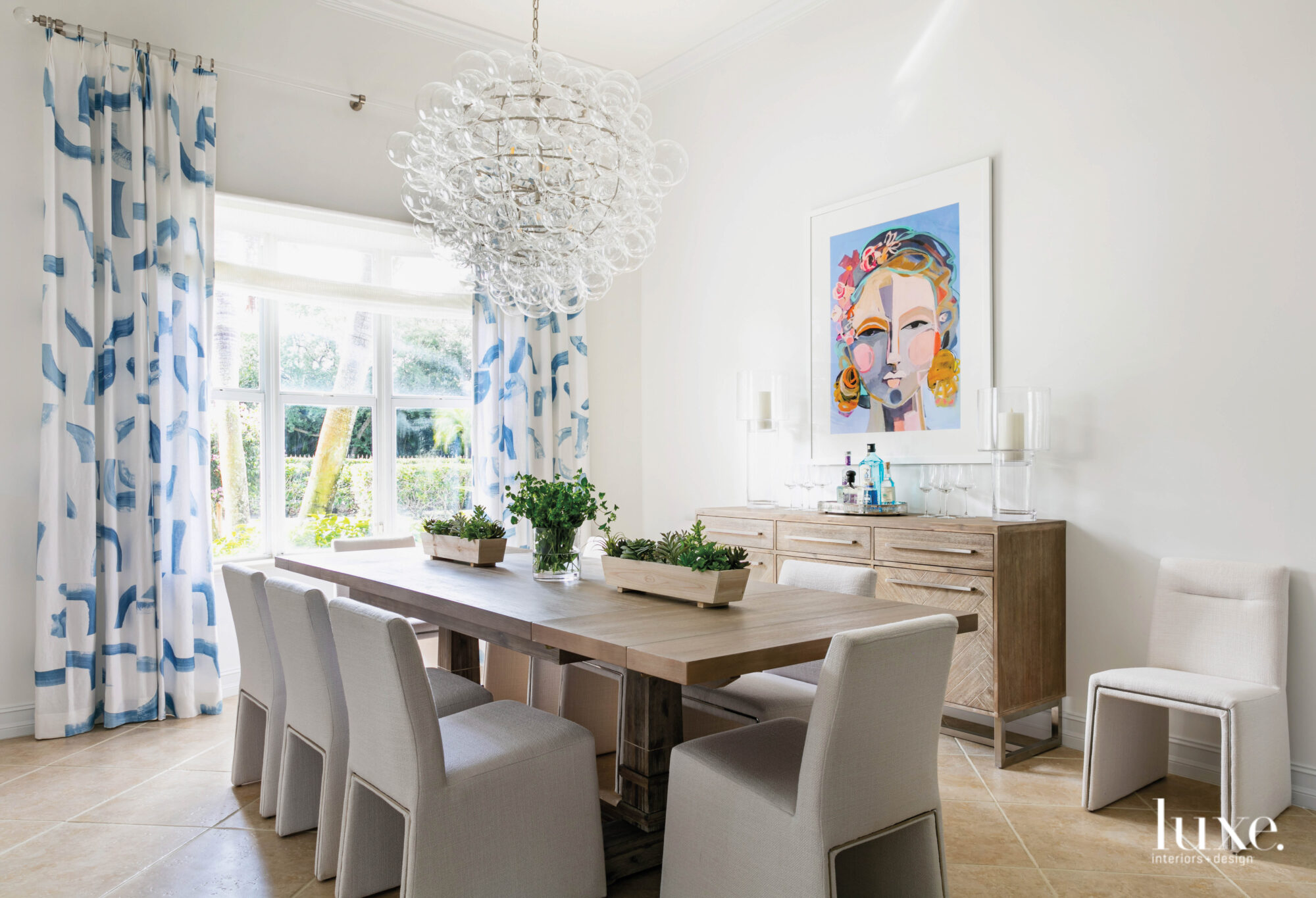 dining room with blue and...