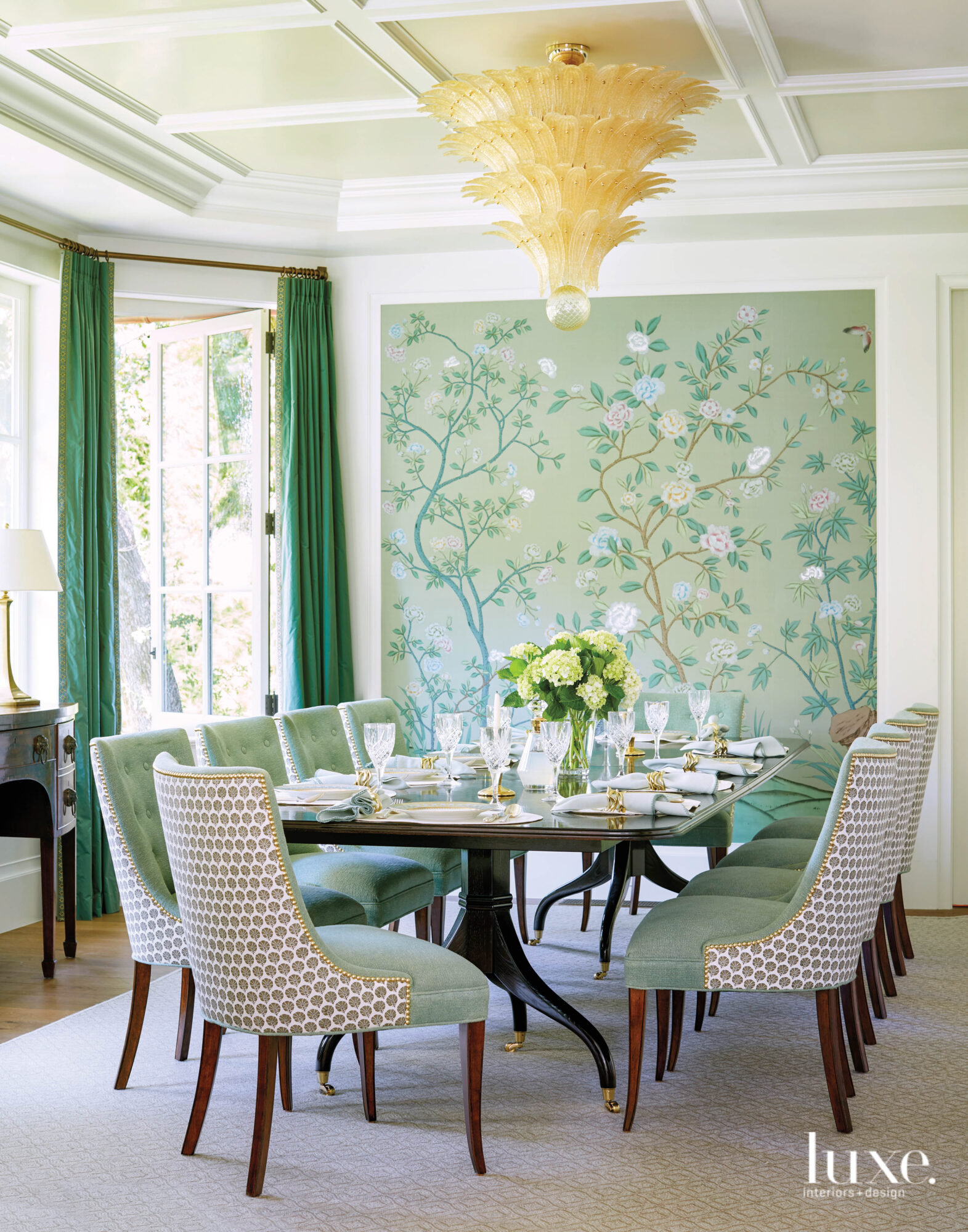A dining room has a...