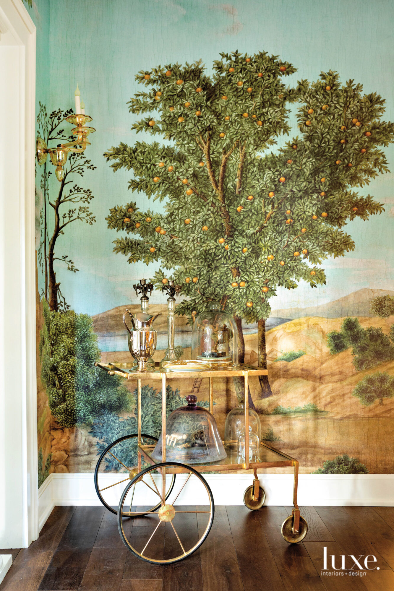 Scenic wallpaper with brass bar...