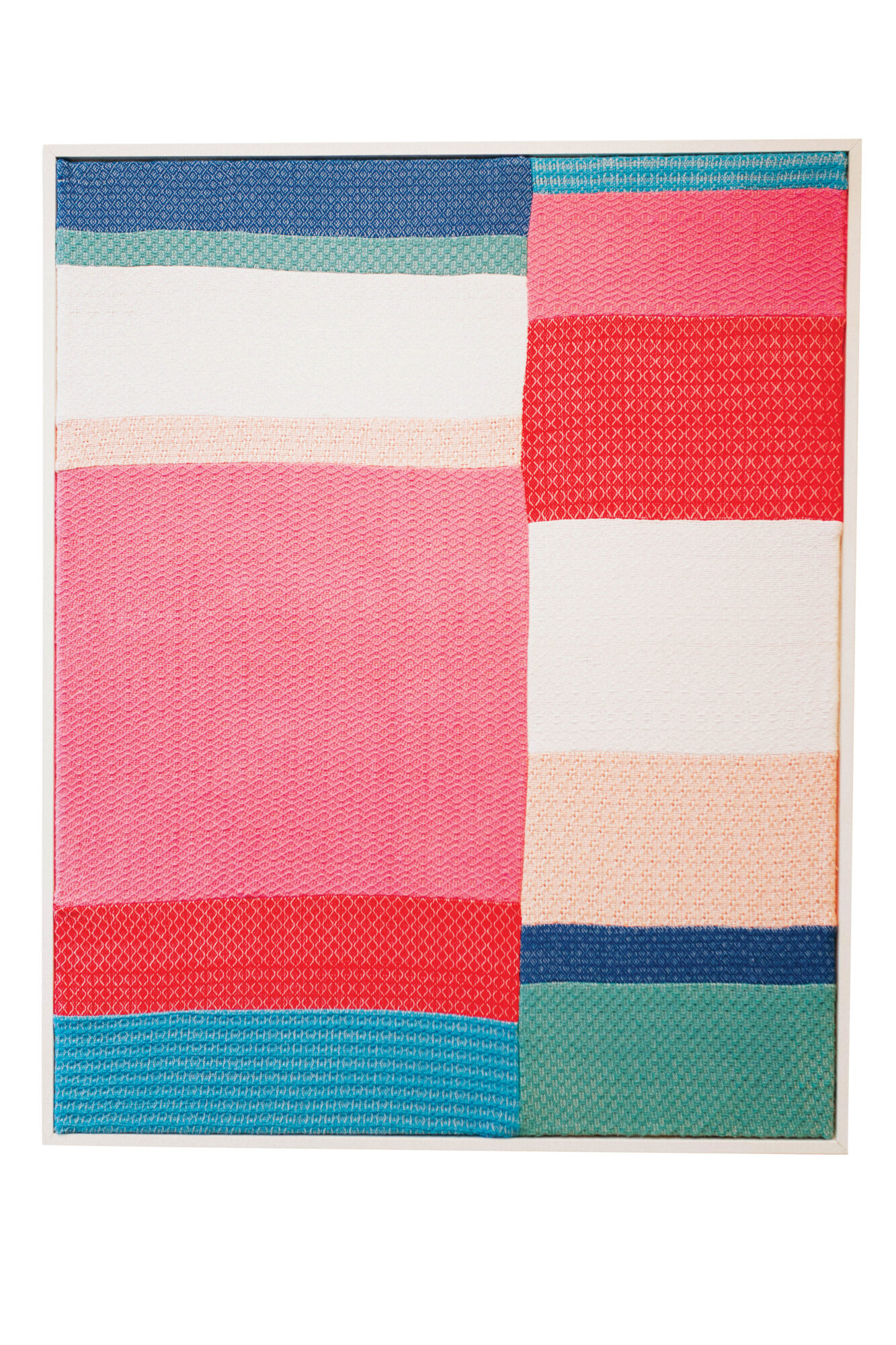 Color-blocked woven tapestry