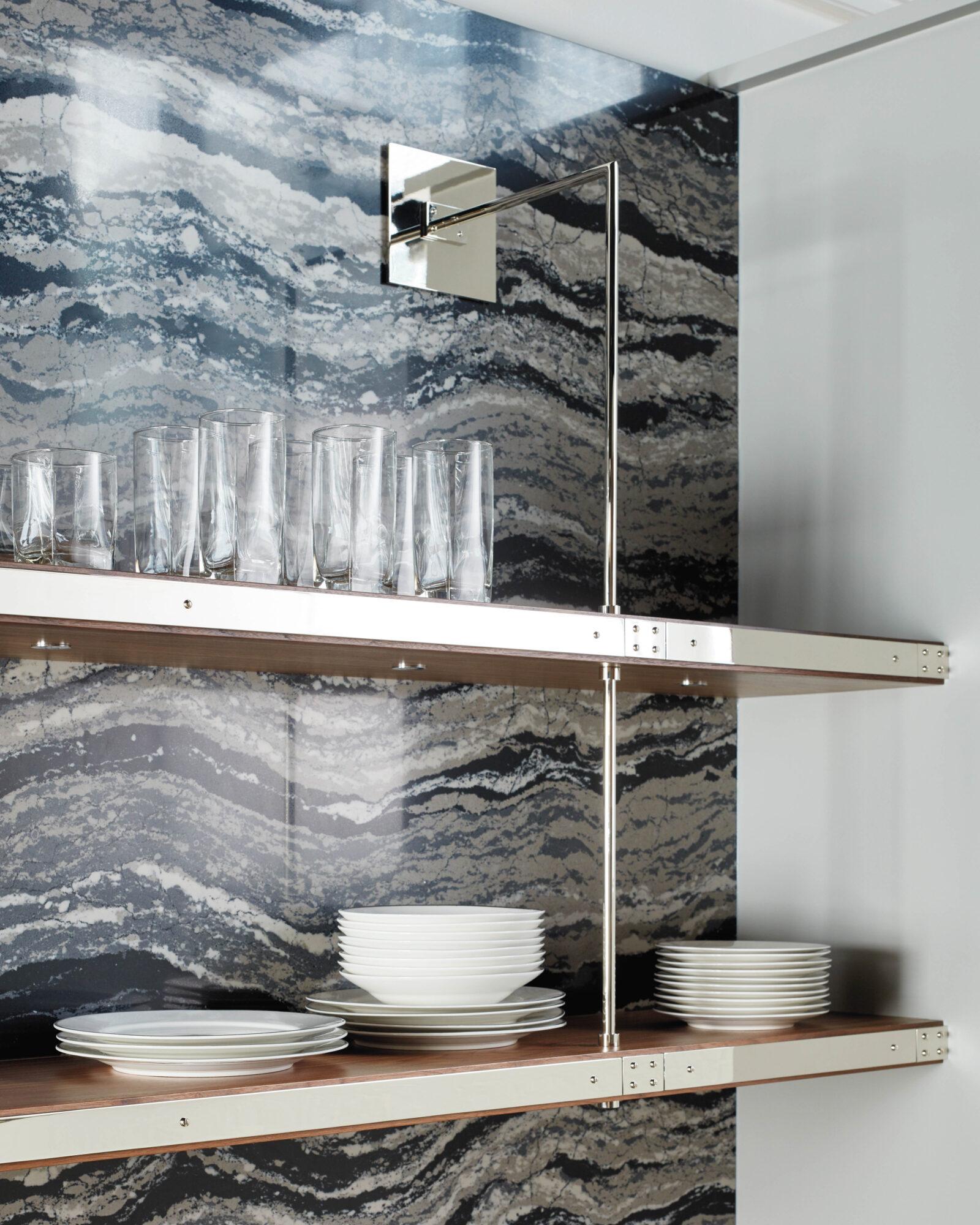 Kitchen with veined blue marble backsplash