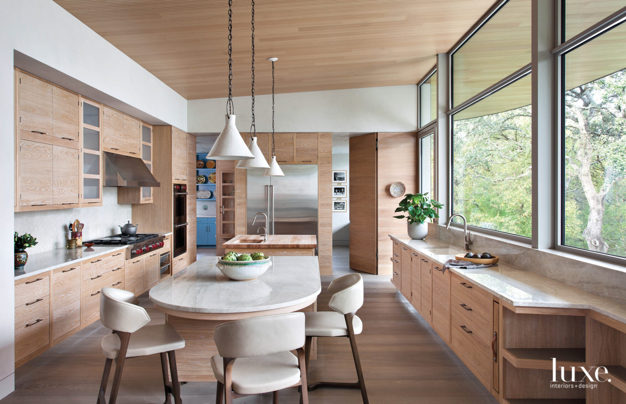 wood kitchen with gray white...