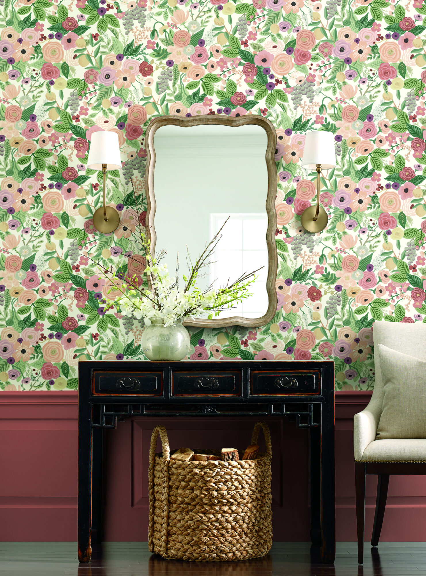 flower wallpaper basket of wood mirror