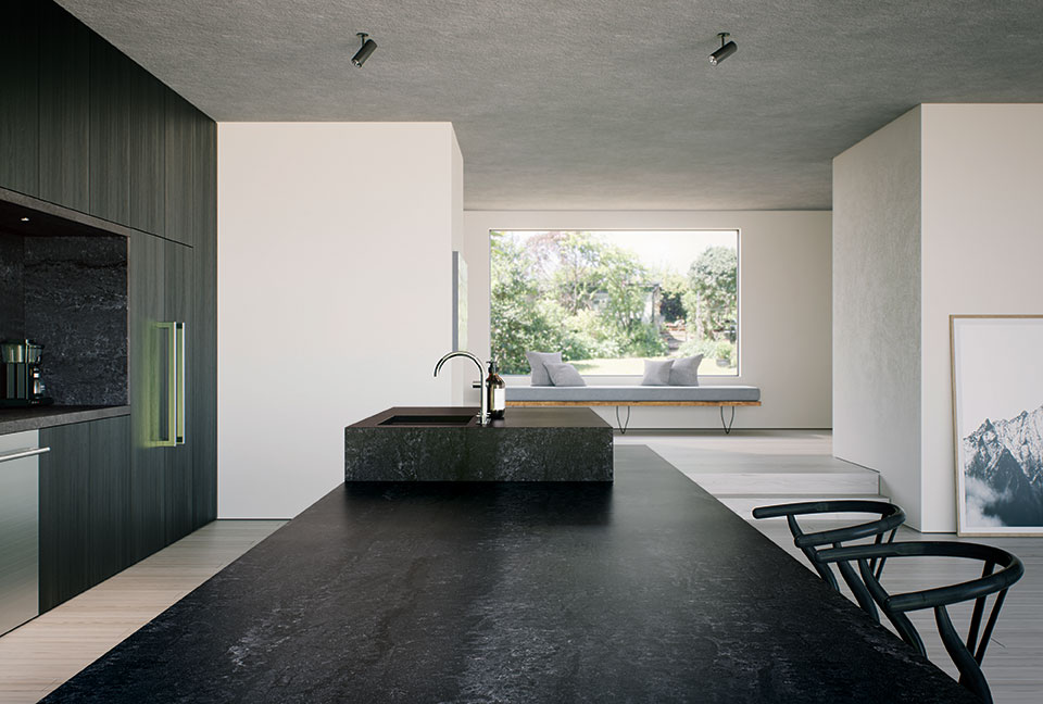 caesarstone view from island with bit window white wall