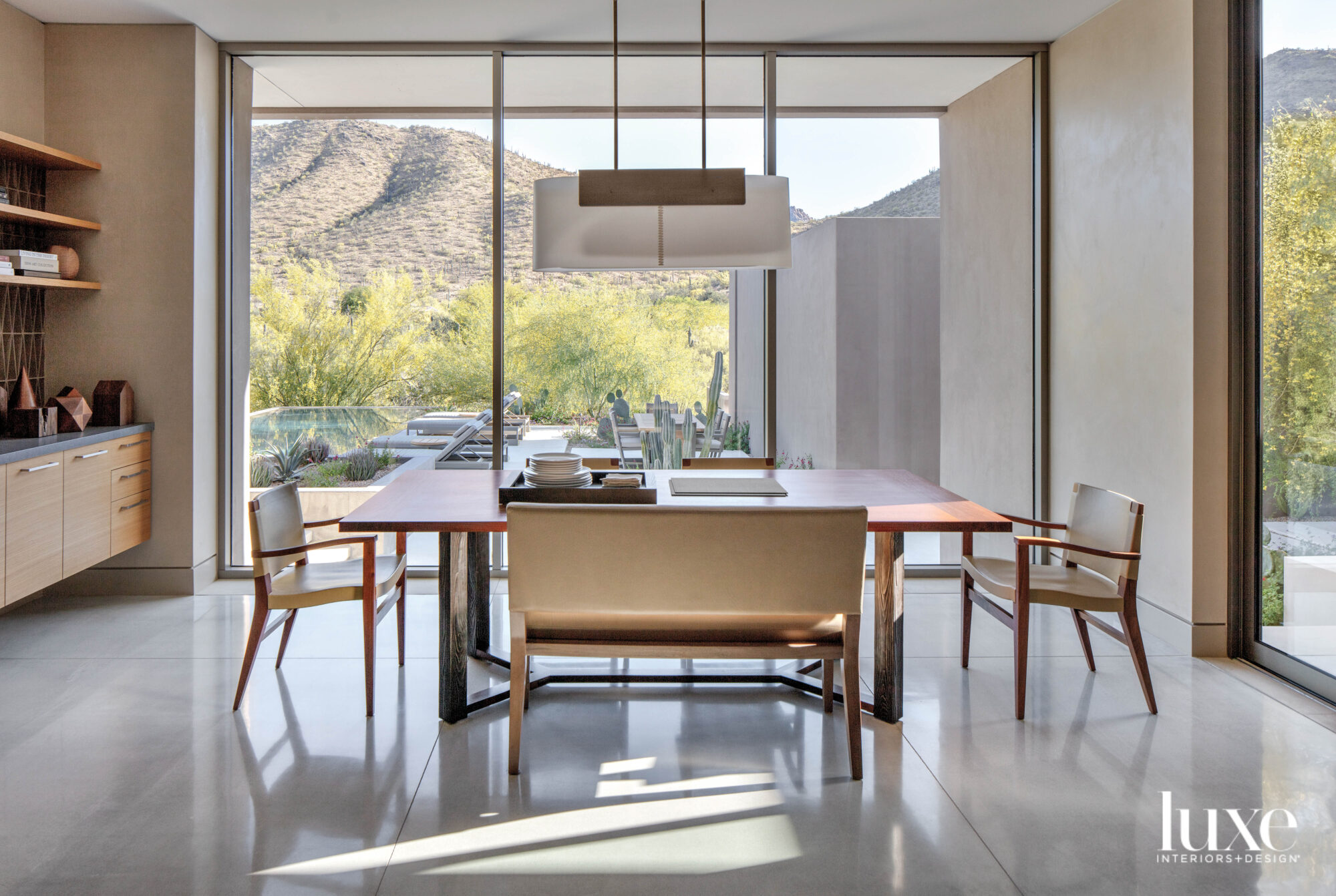 A breakfast nook with minimalist...