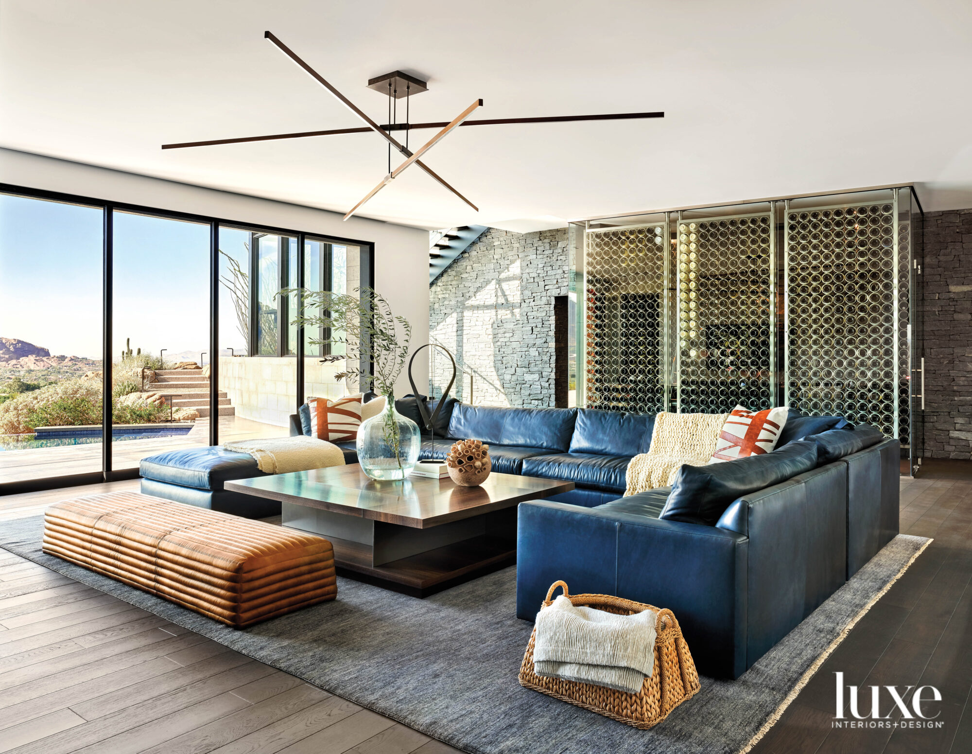 A blue sectional in a...