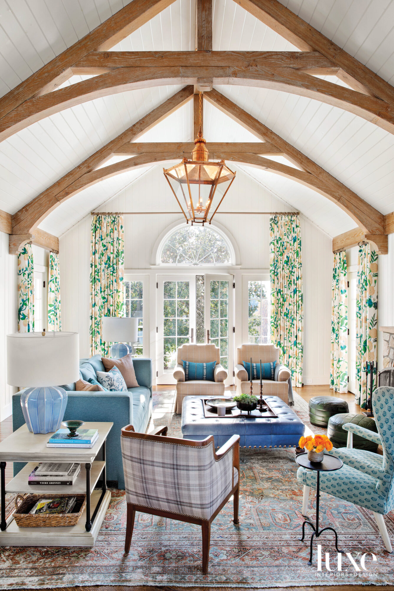 Family room with vaulted ceiling