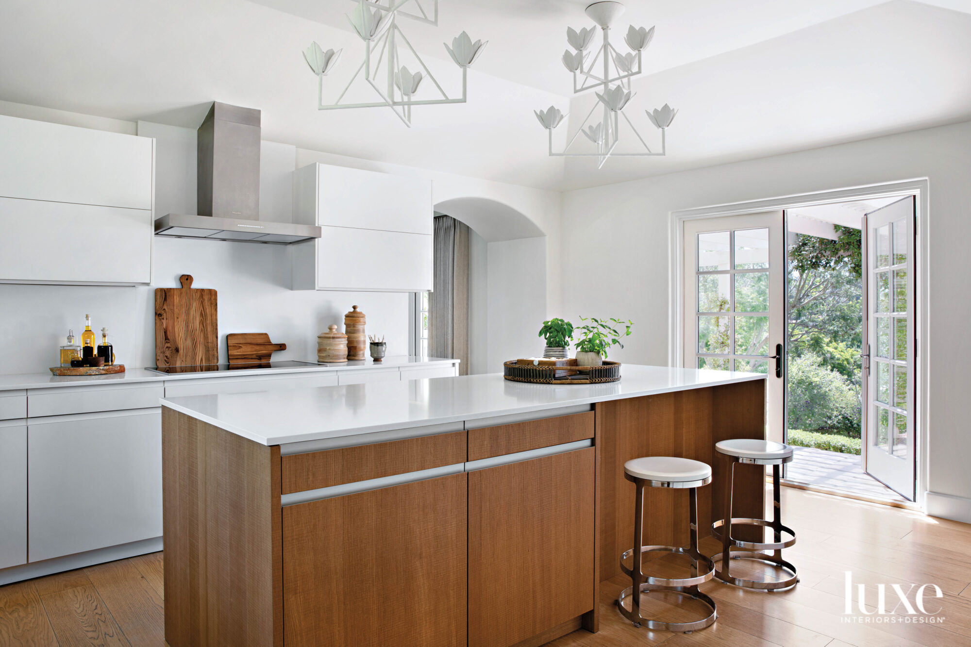 Kitchen with island and pair...