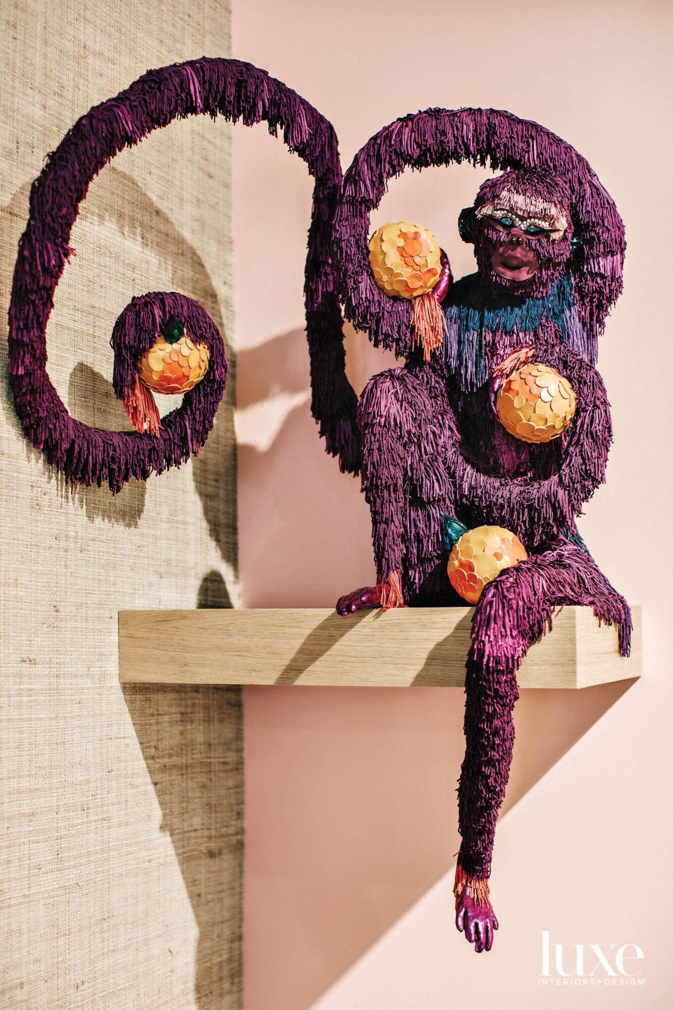 Purple monkey on a shelf