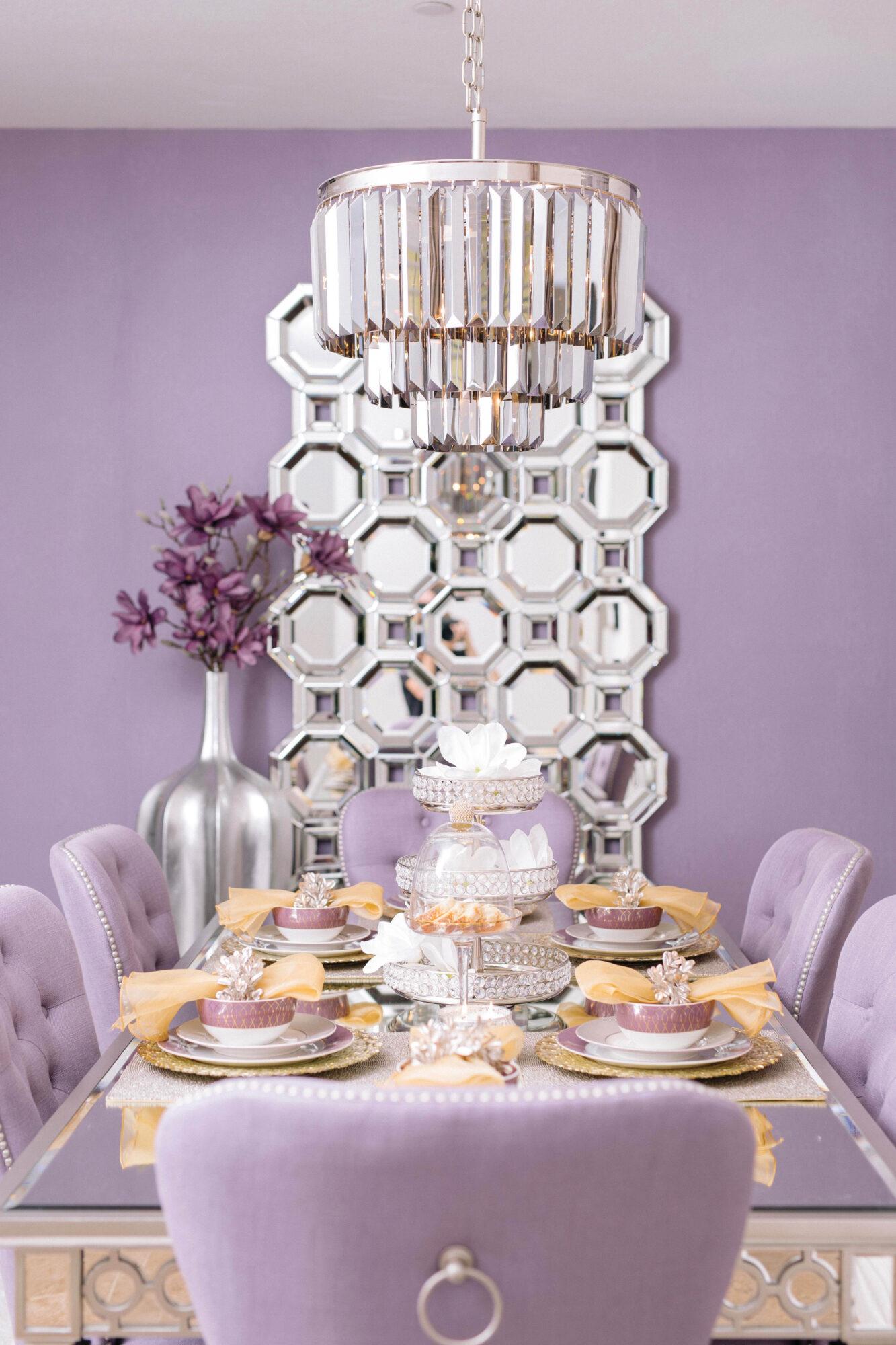 light purple dining room