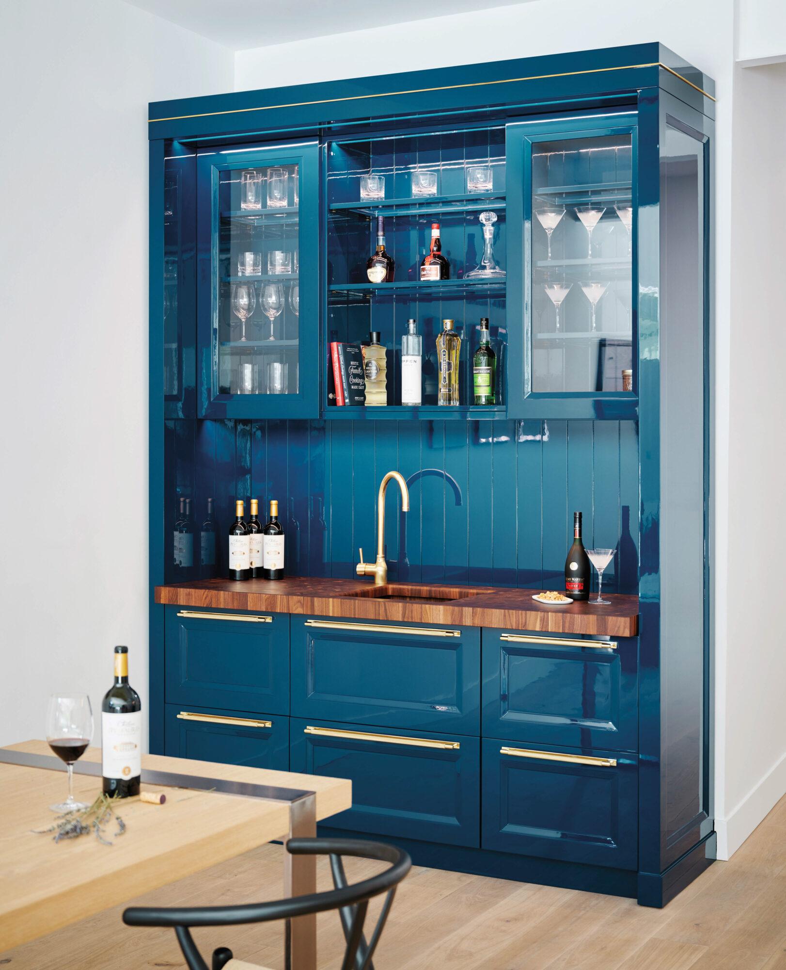 blue kitchen bar area